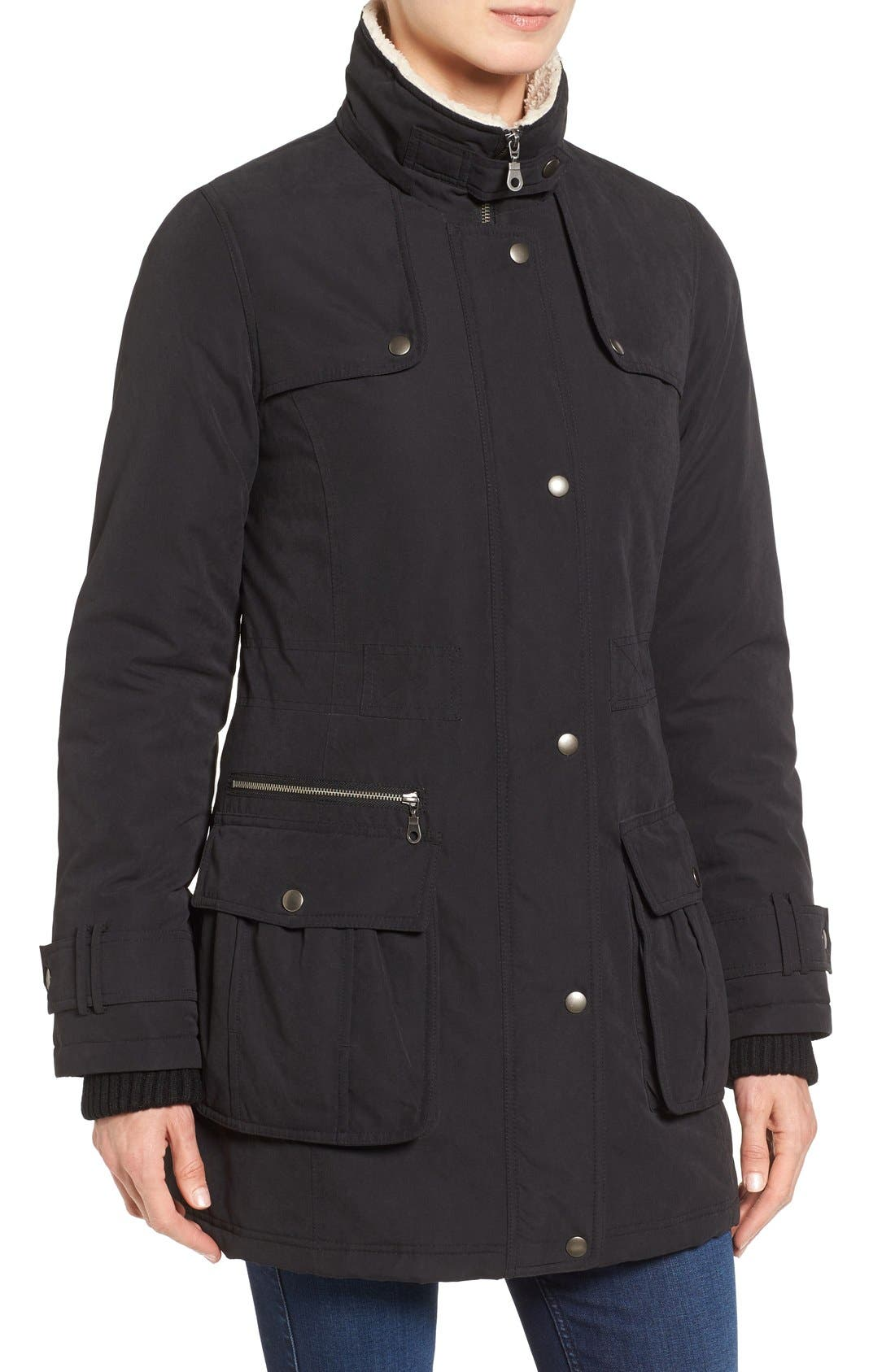 Hooded Anorak with Faux Fur Trim,                             Alternate thumbnail 6, color,