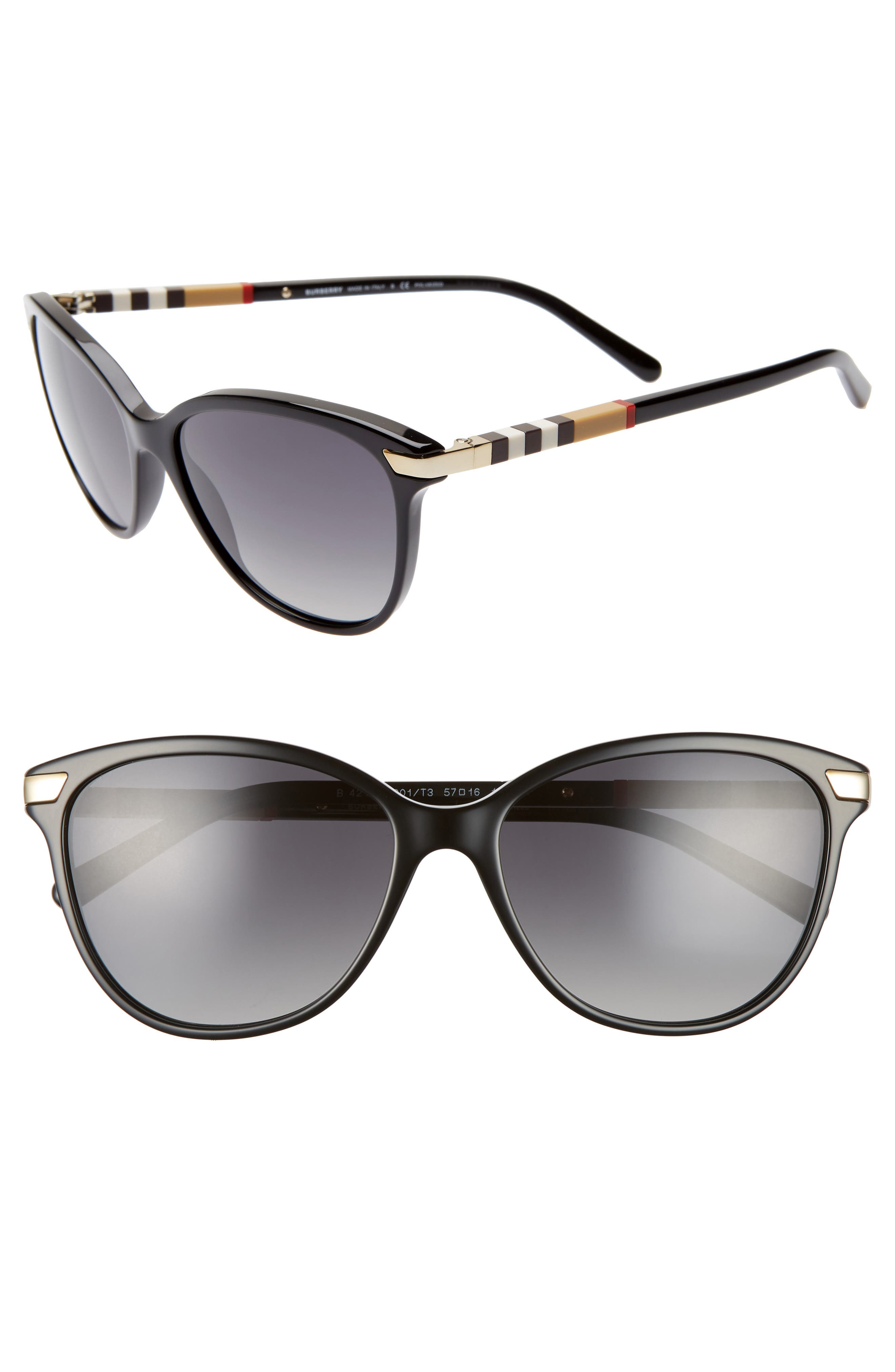 Check 57mm Polarized Gradient Cat Eye Sunglasses,                             Main thumbnail 1, color,                             BLACK/ BLACK GRADIENT