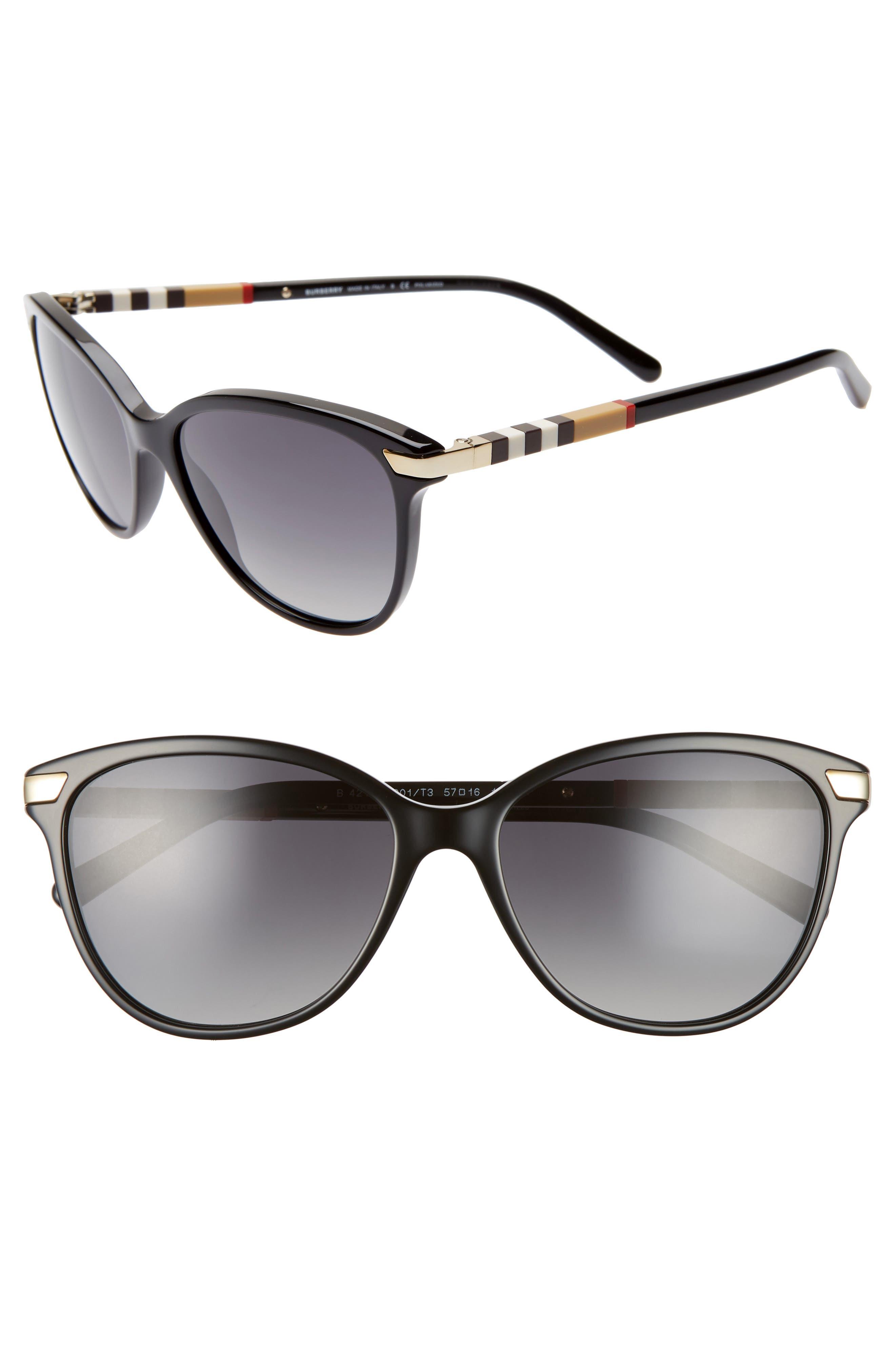Check 57mm Polarized Gradient Cat Eye Sunglasses, Main, color, BLACK/ BLACK GRADIENT