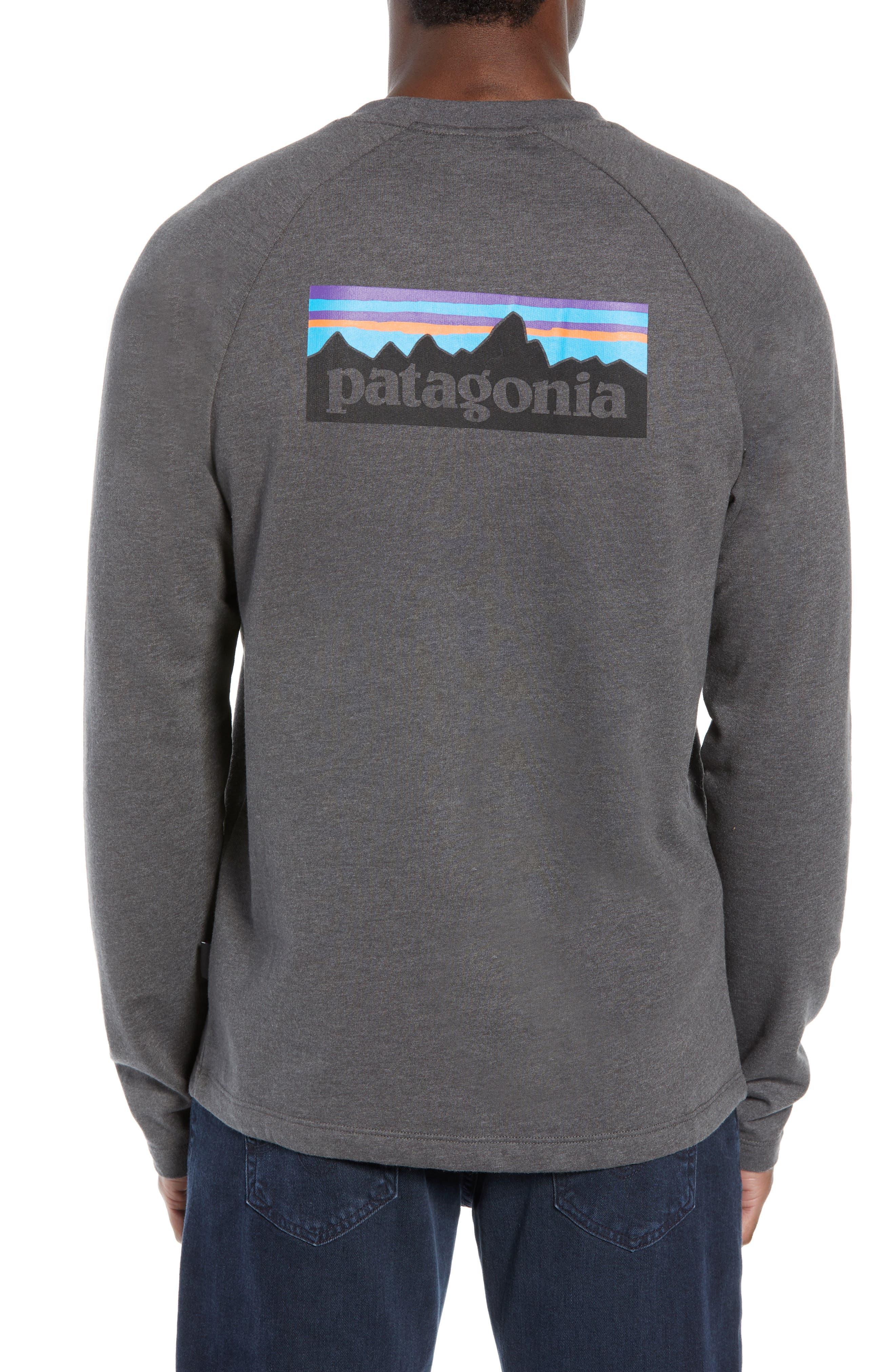 PATAGONIA,                             P-6 Logo Slim Fit Lightweight Sweatshirt,                             Alternate thumbnail 2, color,                             FORGE GREY