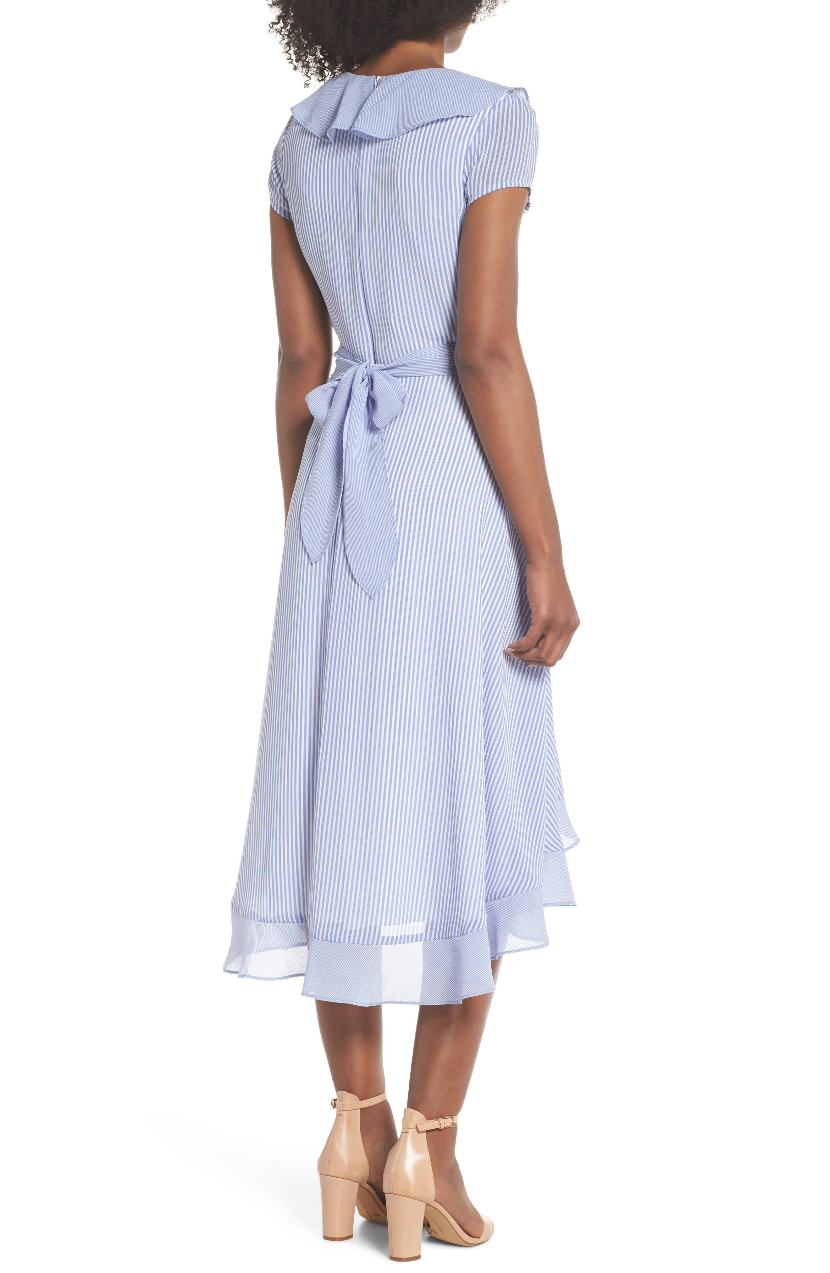 Stripe Faux Wrap Dress,                             Alternate thumbnail 2, color,                             411