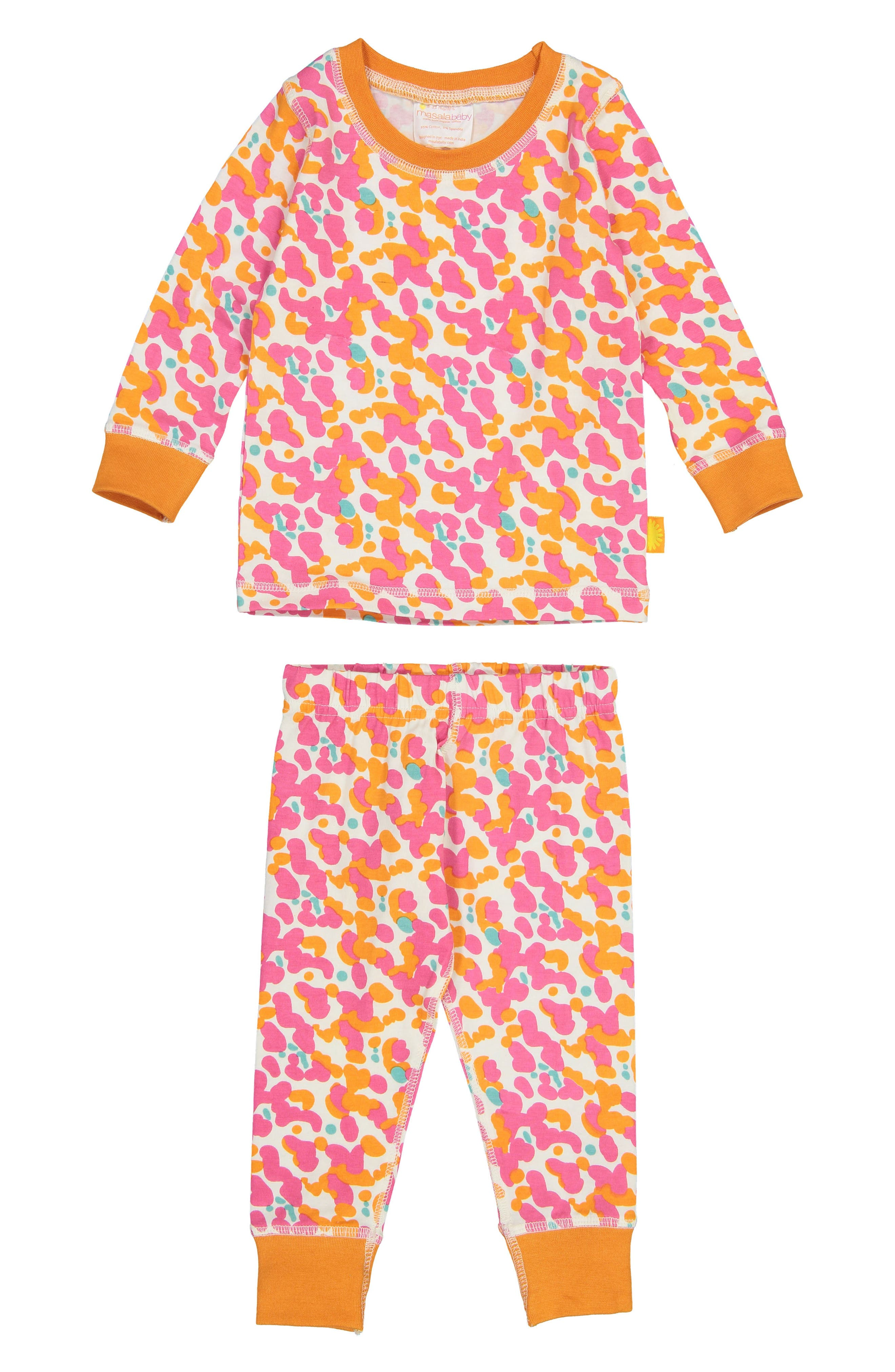 Spotted Organic Cotton Fitted Two-Piece Pajamas,                             Main thumbnail 1, color,                             PINK