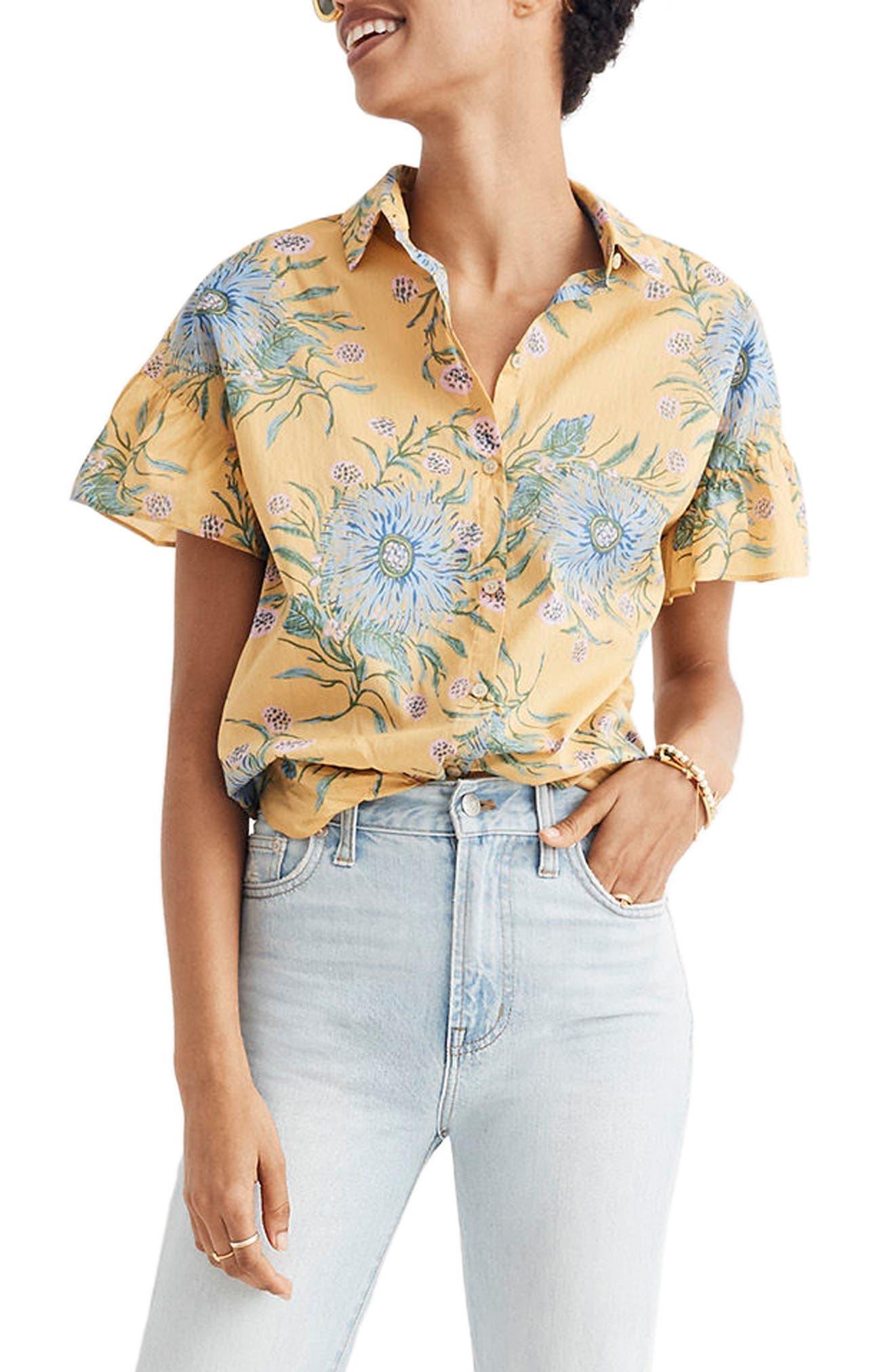 Ruffle Sleeve Button Down Shirt,                         Main,                         color,
