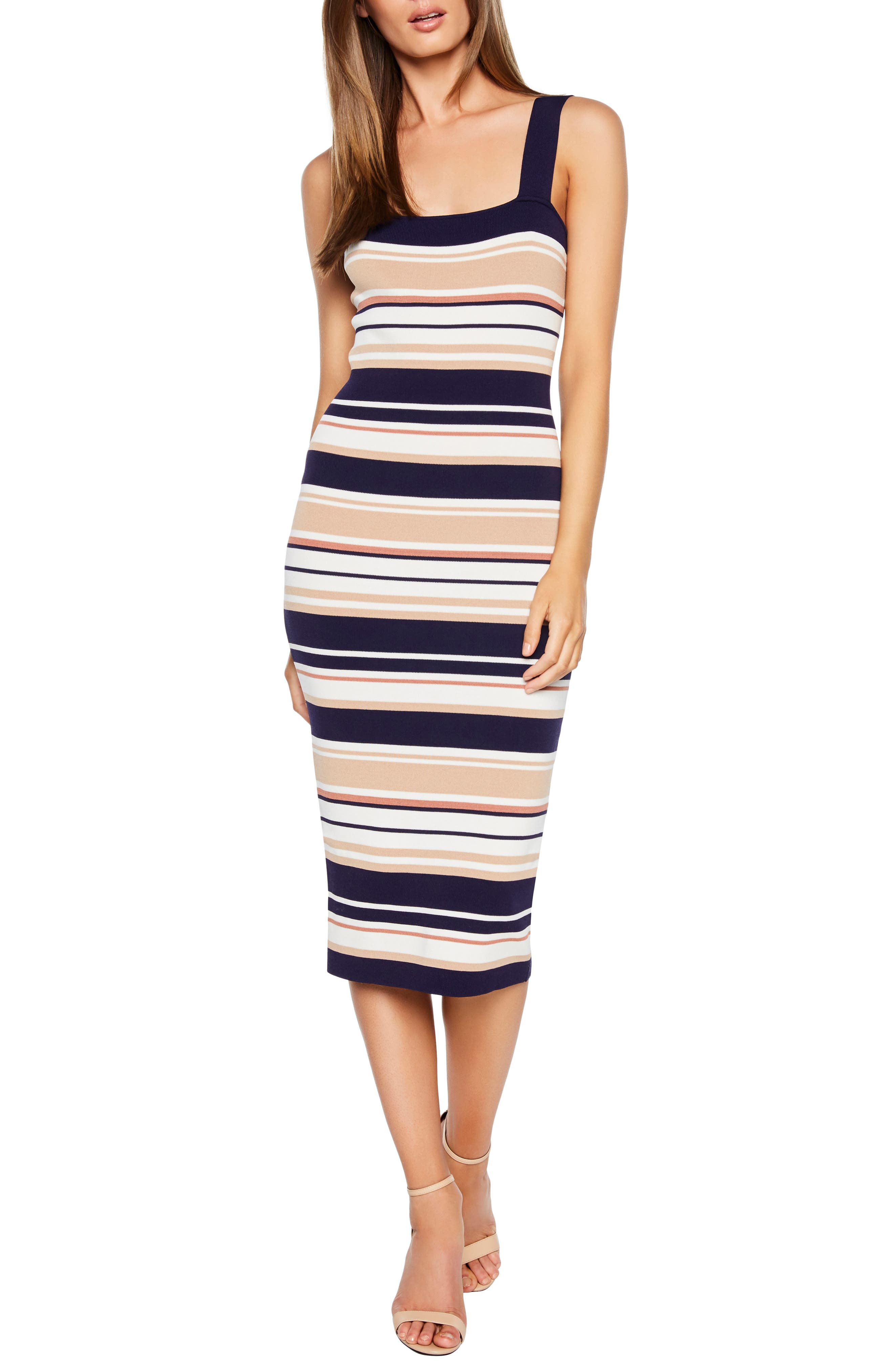 Bardot Multi Stripe Midi Sweater Dress, White