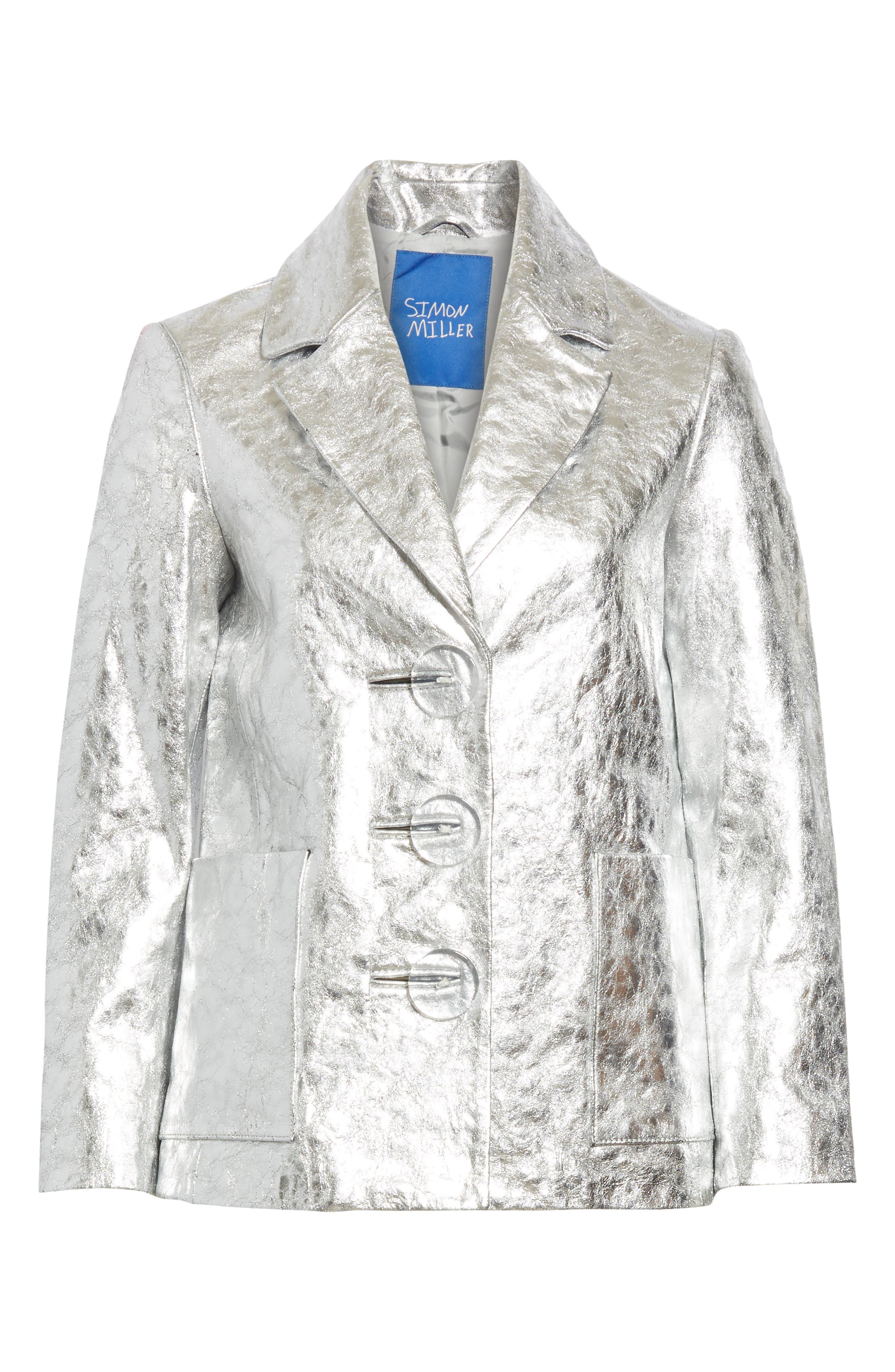 SIMON MILLER,                             Dawes Crackled Leather Jacket,                             Alternate thumbnail 6, color,                             SILVER CRACKLE