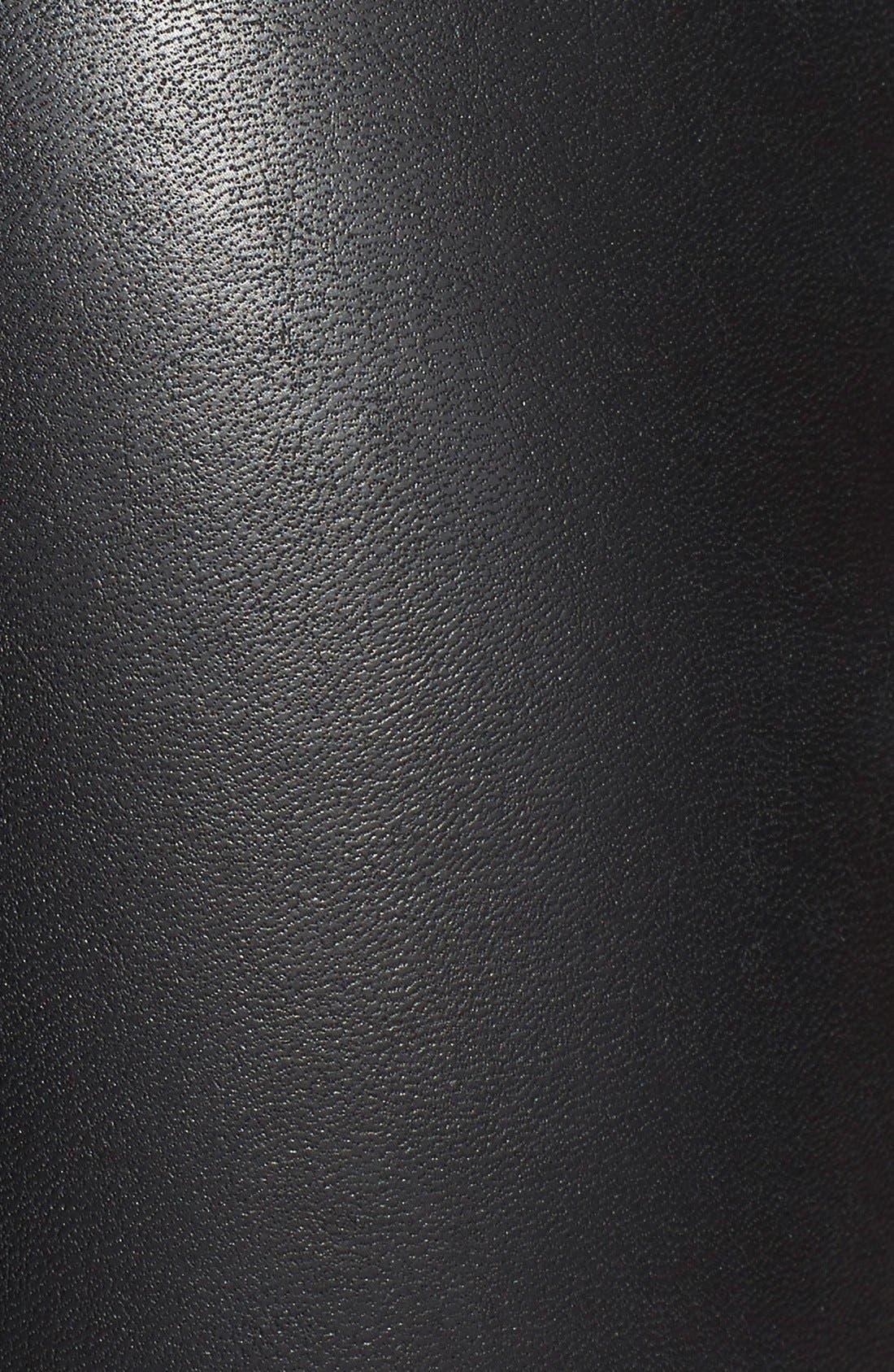 'Ski Pole' Faux Leather & Ponte Pants,                             Alternate thumbnail 3, color,                             001