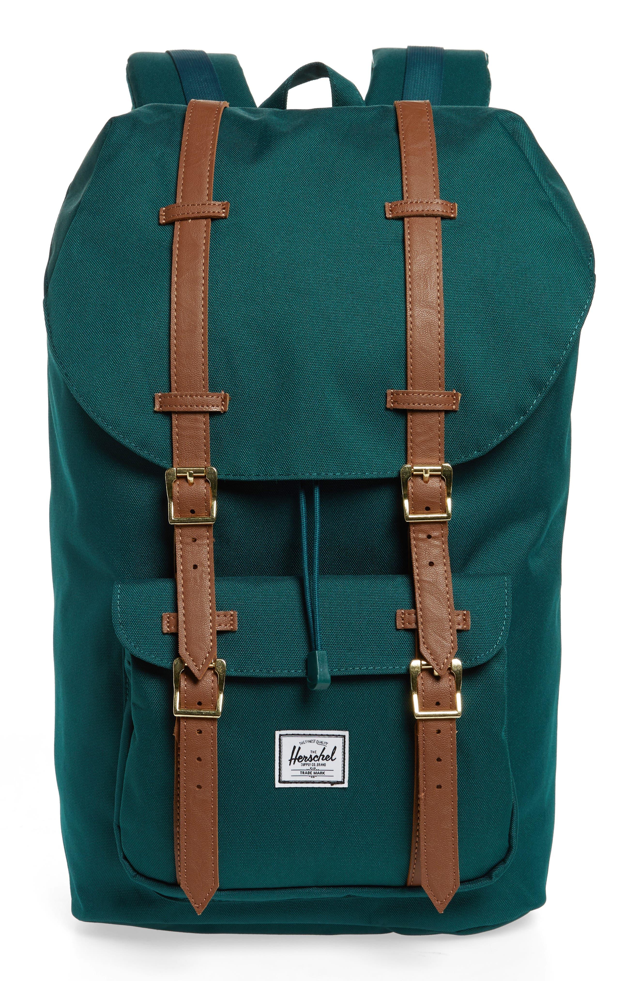 Little America Backpack,                         Main,                         color, DEEP TEAL/ TAN