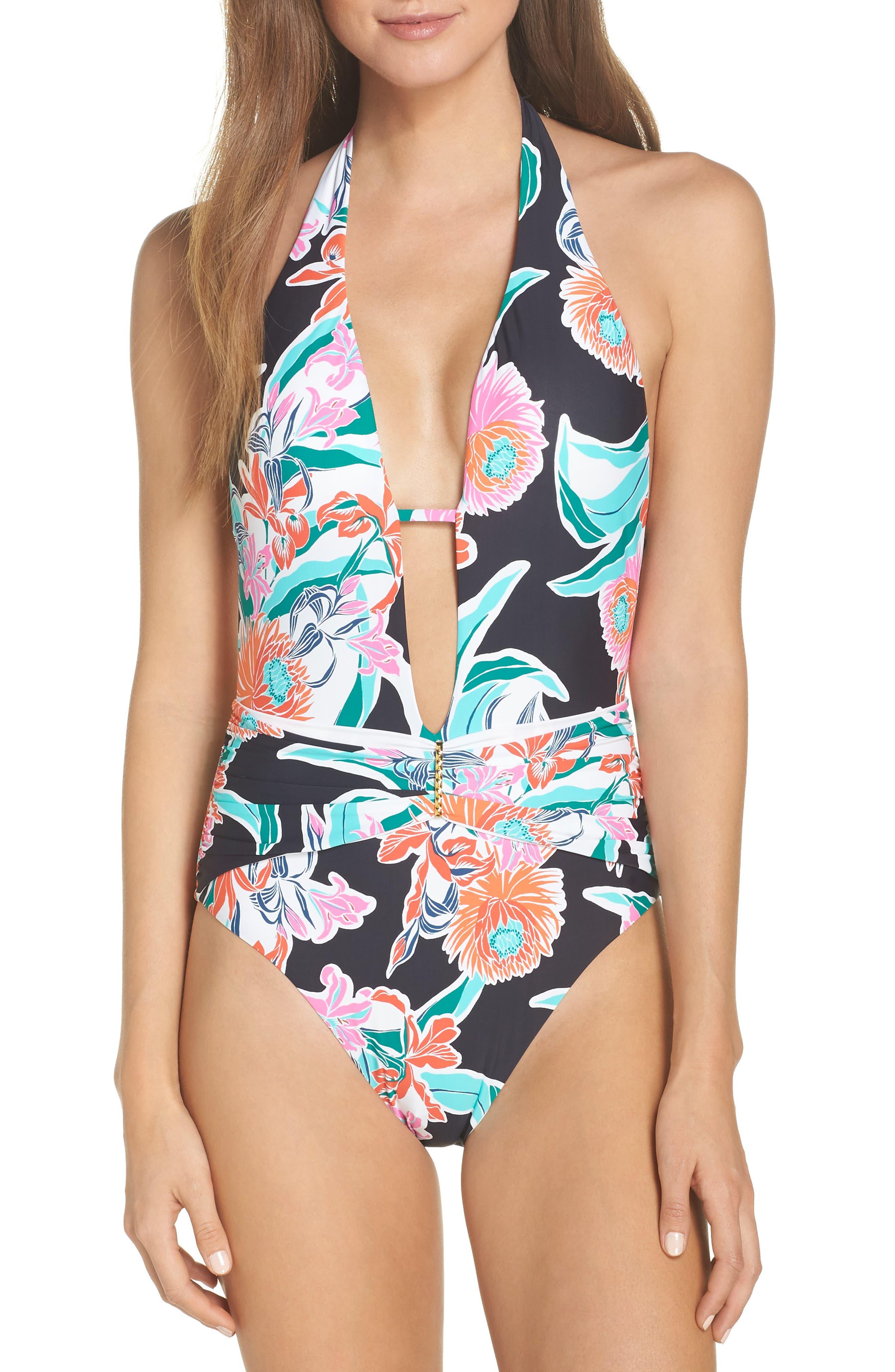 V-Plunge One-Piece Swimsuit, Main, color, BLACK MULTI