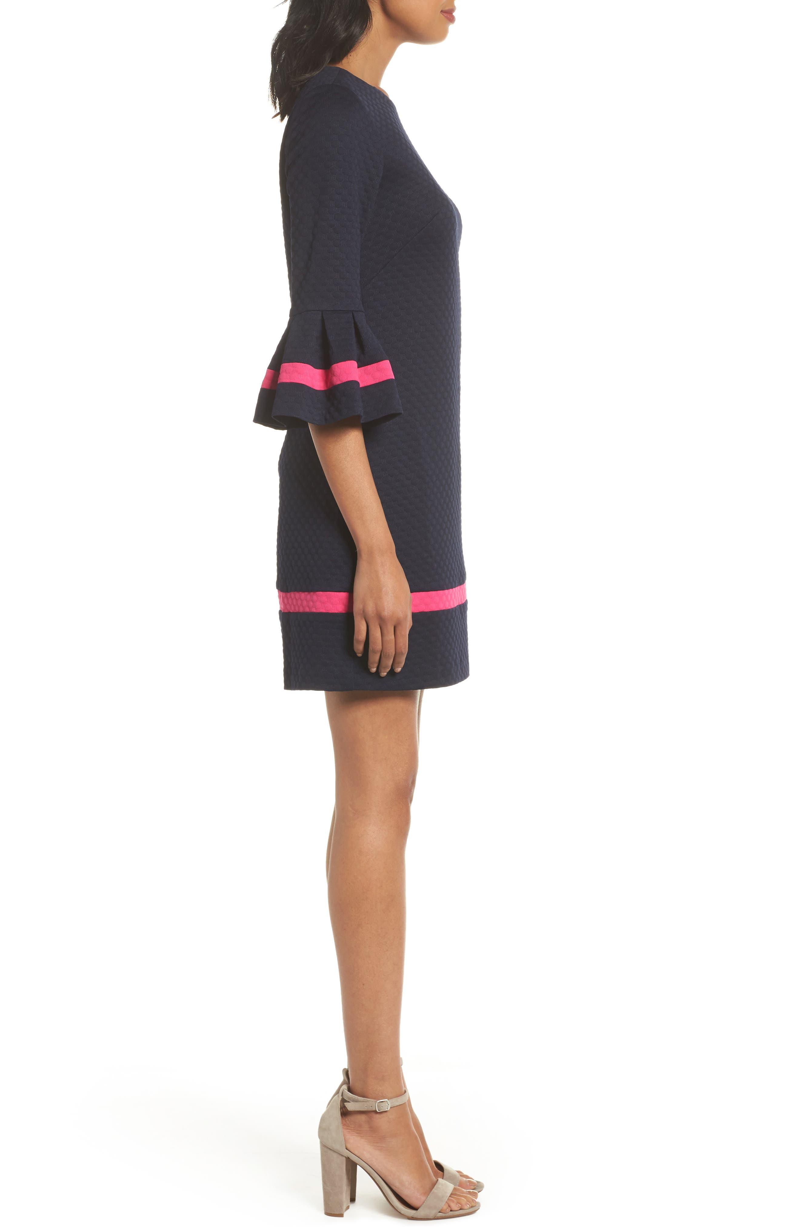 Bell Sleeve Shift Dress,                             Alternate thumbnail 3, color,                             410