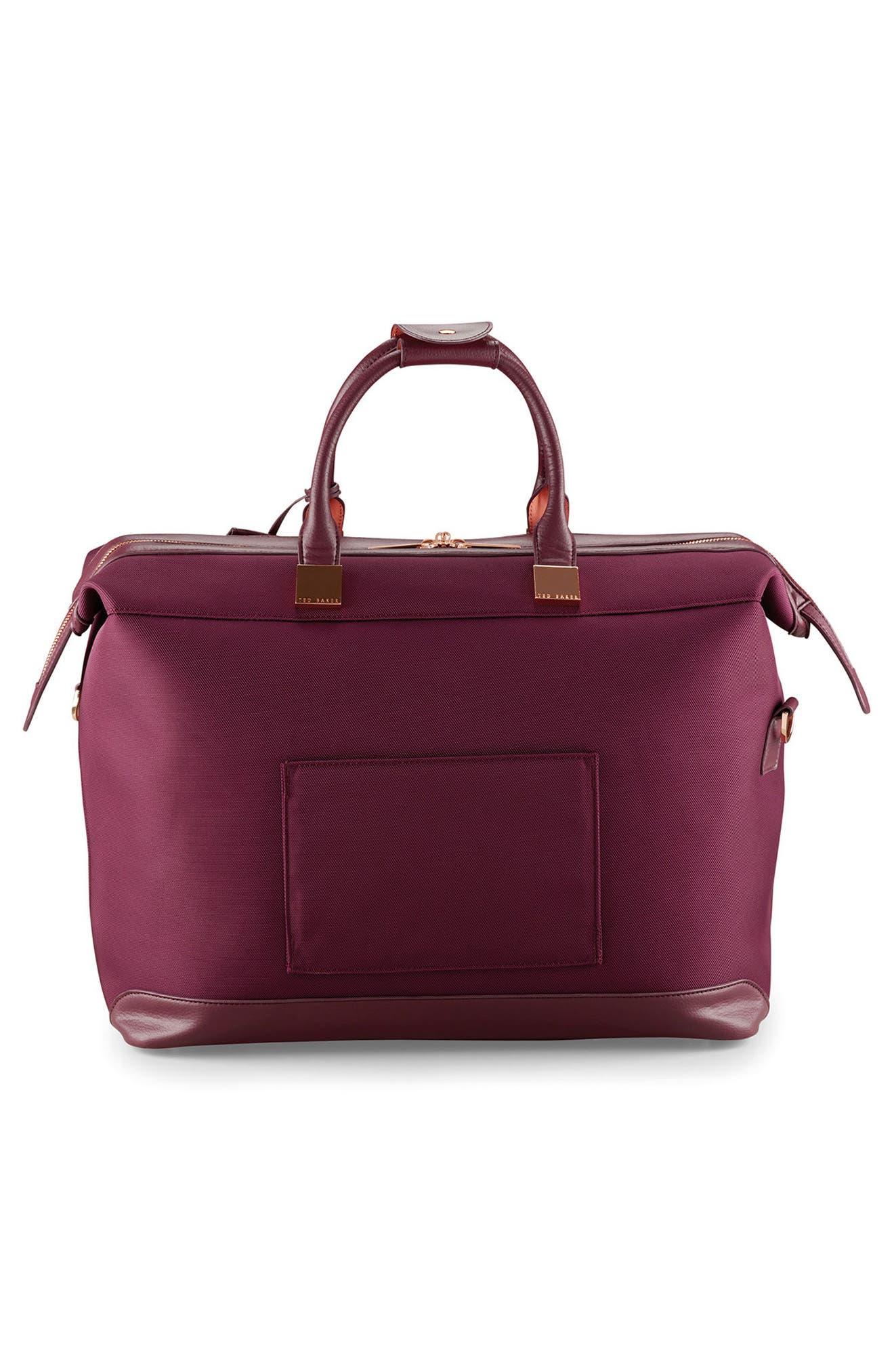 Small Clipper Duffel Bag,                             Alternate thumbnail 4, color,                             BURGUNDY