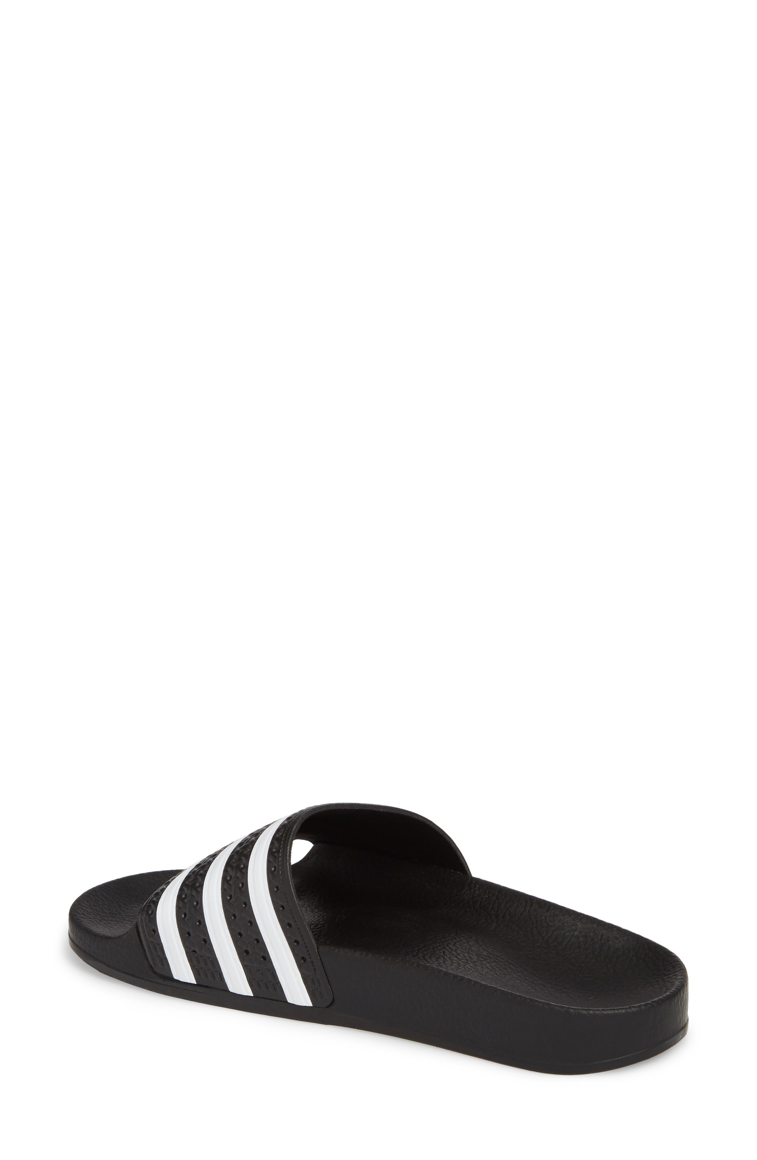 'Adilette' Slide Sandal,                             Alternate thumbnail 2, color,                             CORE BLACK/ WHITE/ CORE BLACK
