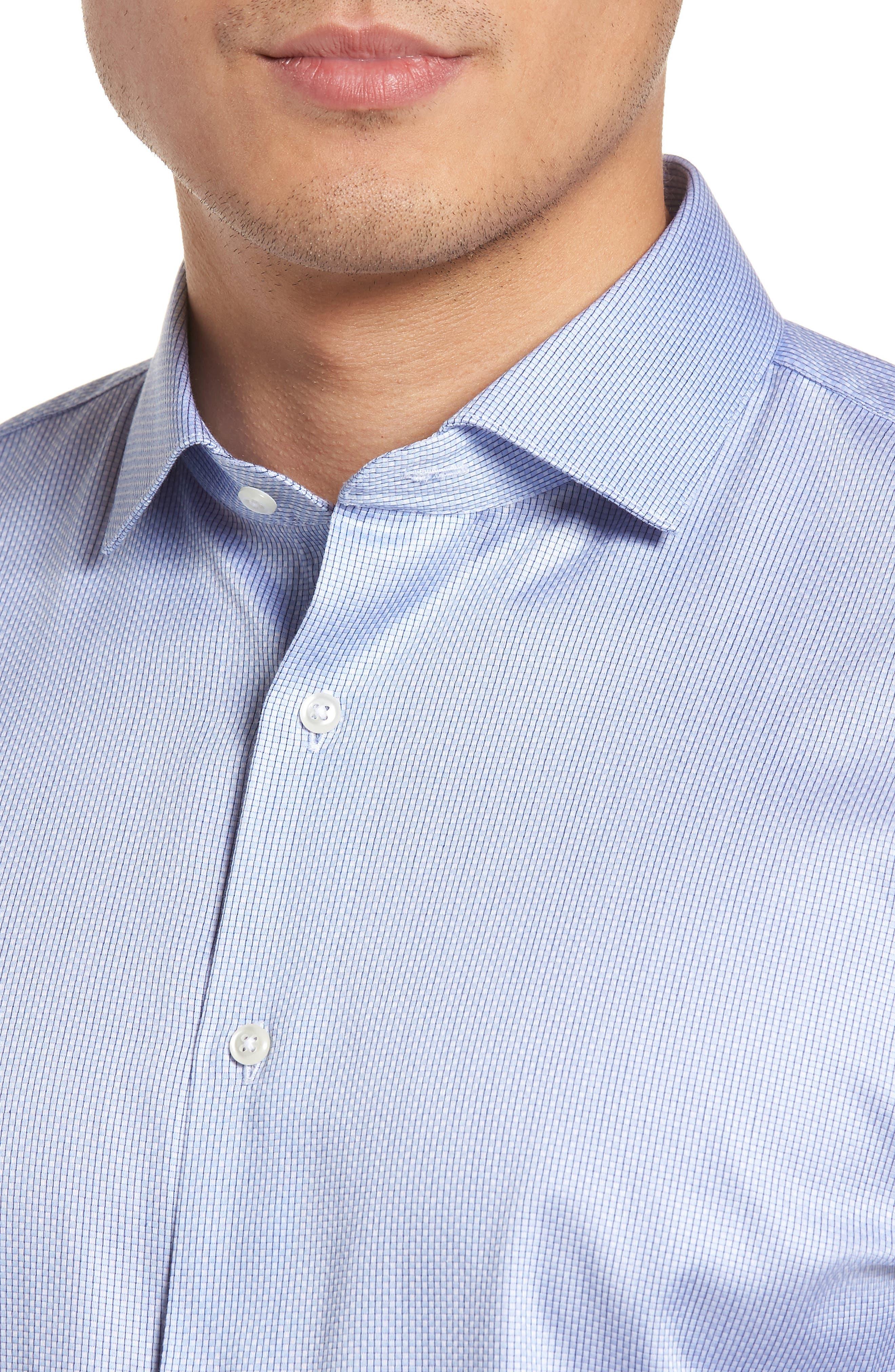 Trim Fit Stripe Dress Shirt,                             Alternate thumbnail 5, color,