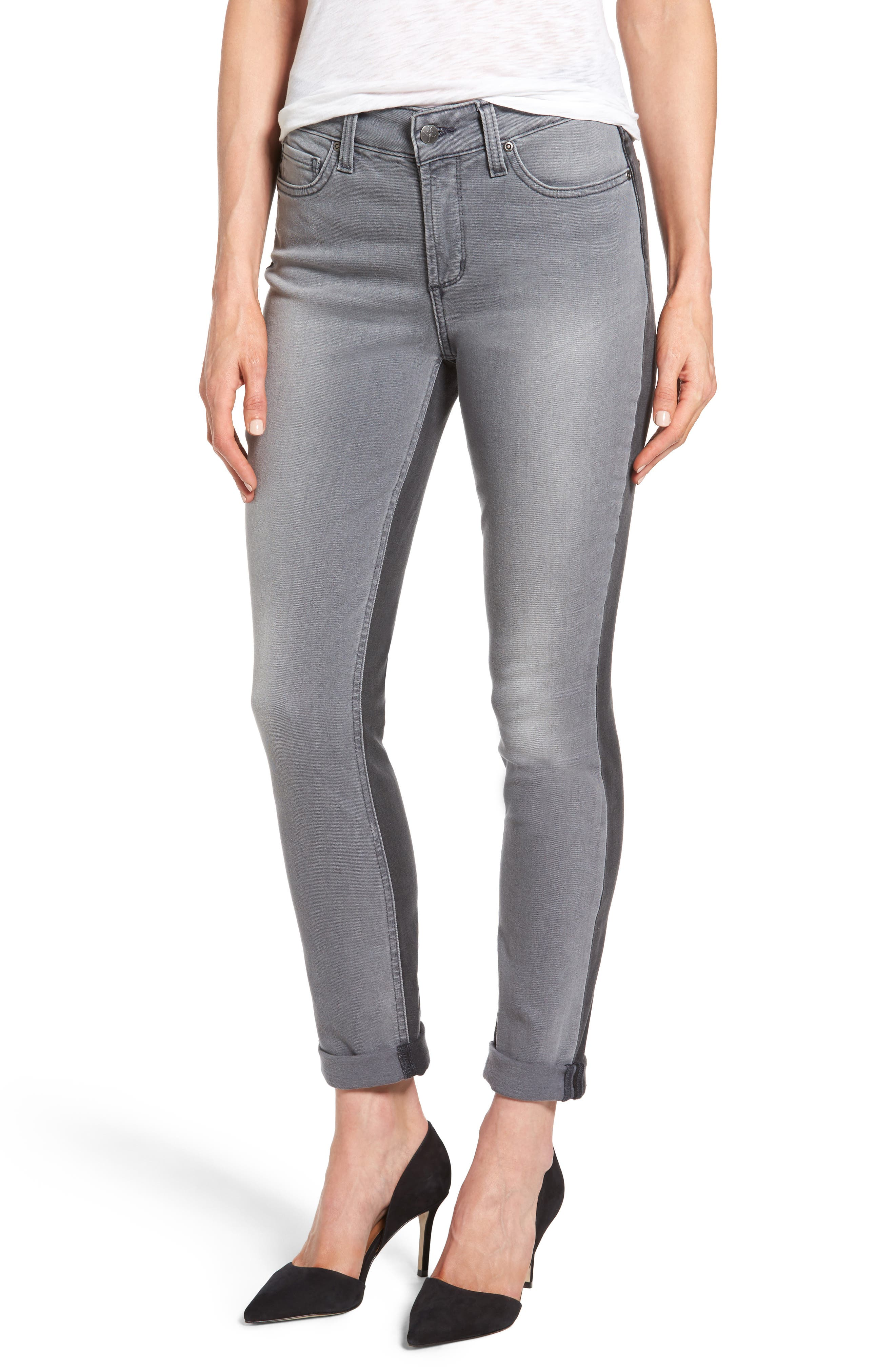 Two Tone Stretch Girlfriend Jeans,                             Main thumbnail 1, color,                             020