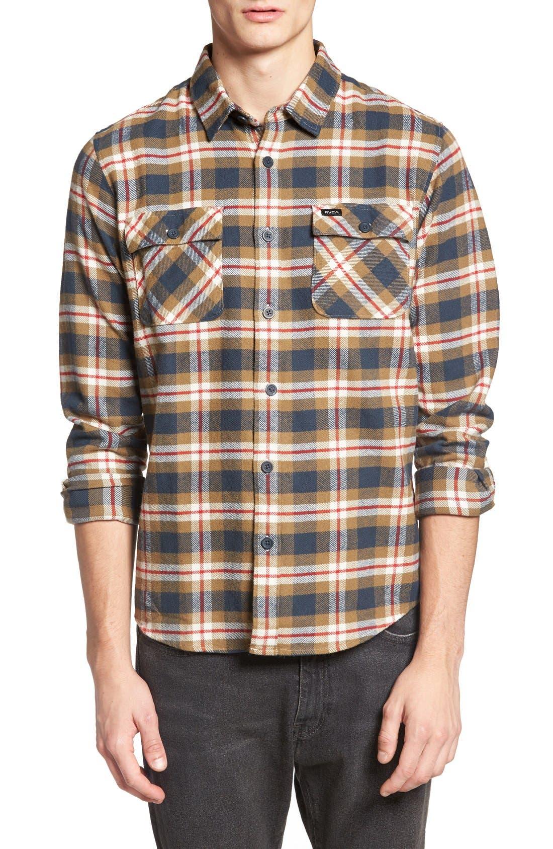 'That'll Work' Trim Fit Plaid Flannel Shirt,                             Main thumbnail 5, color,