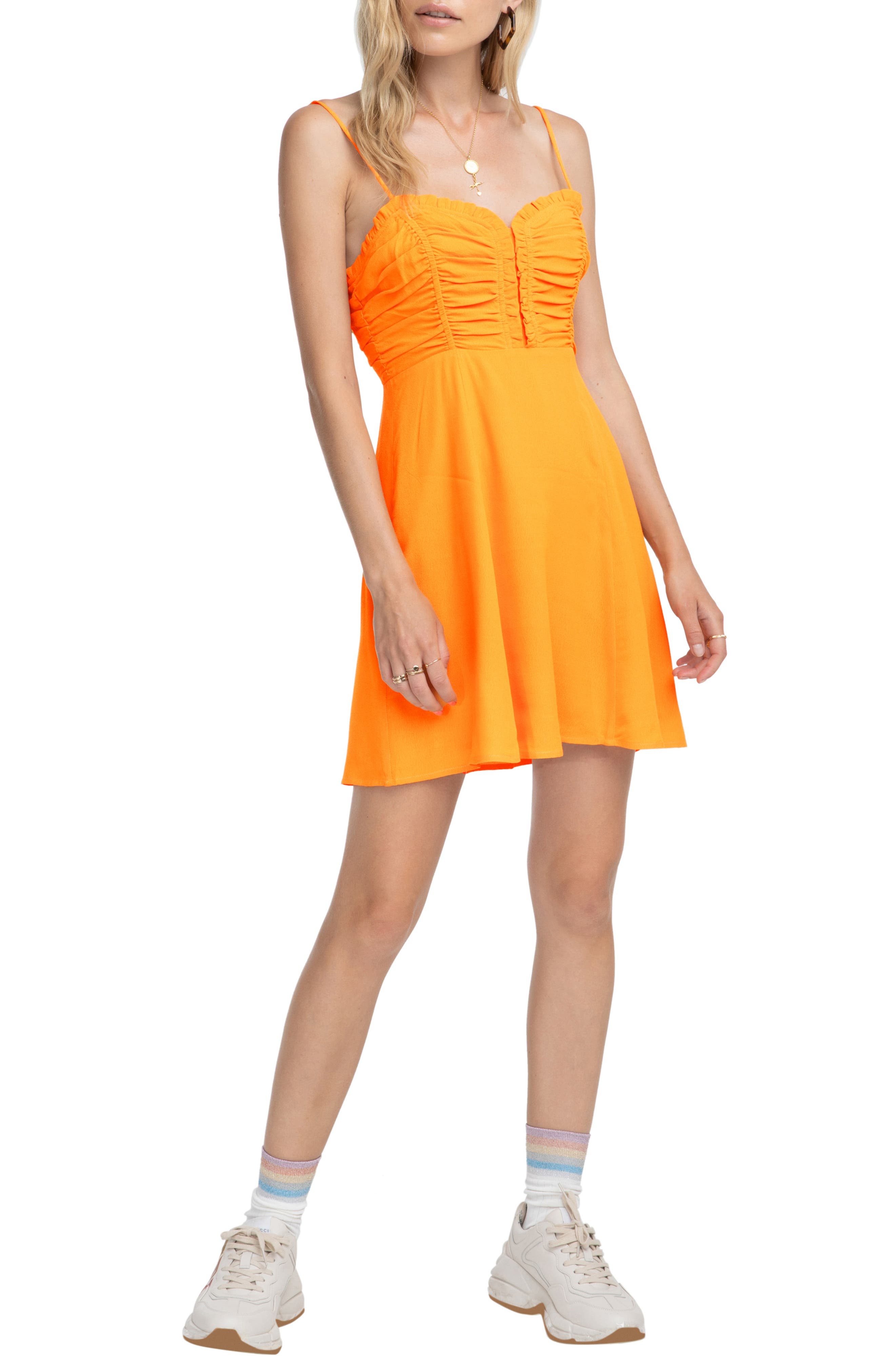 Astr The Label Ryder Skater Dress, Orange