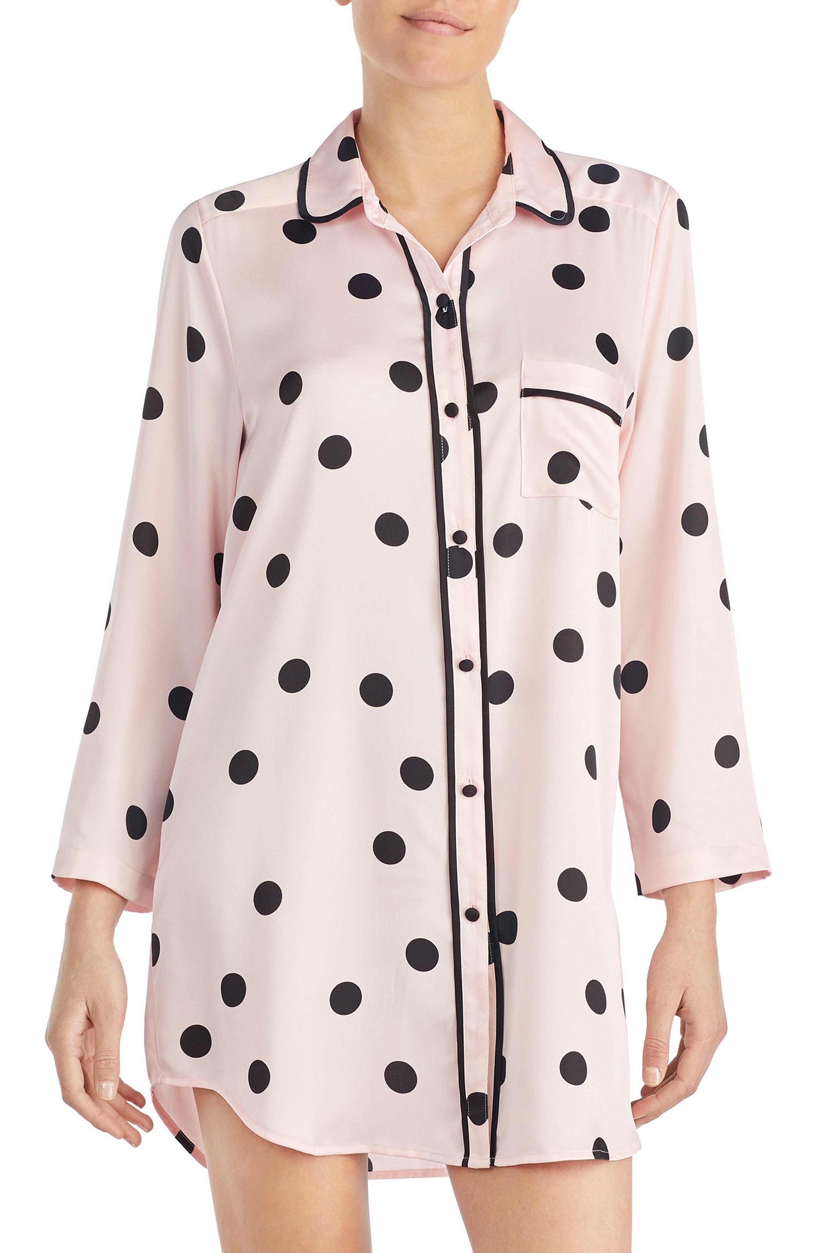 polka dot sleep shirt,                             Main thumbnail 1, color,