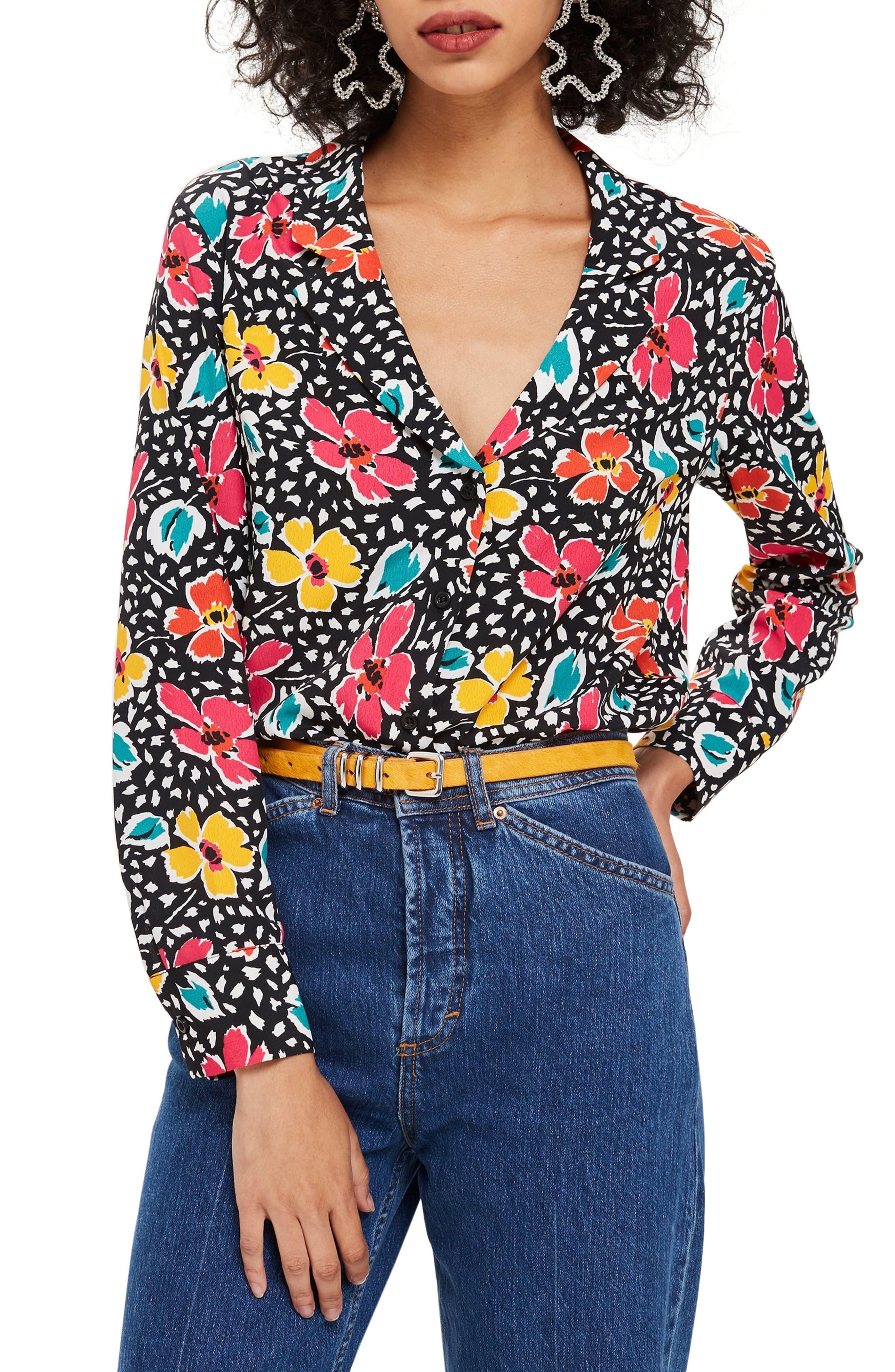 Floral Pajama Style Shirt,                             Main thumbnail 1, color,                             BLACK MULTI