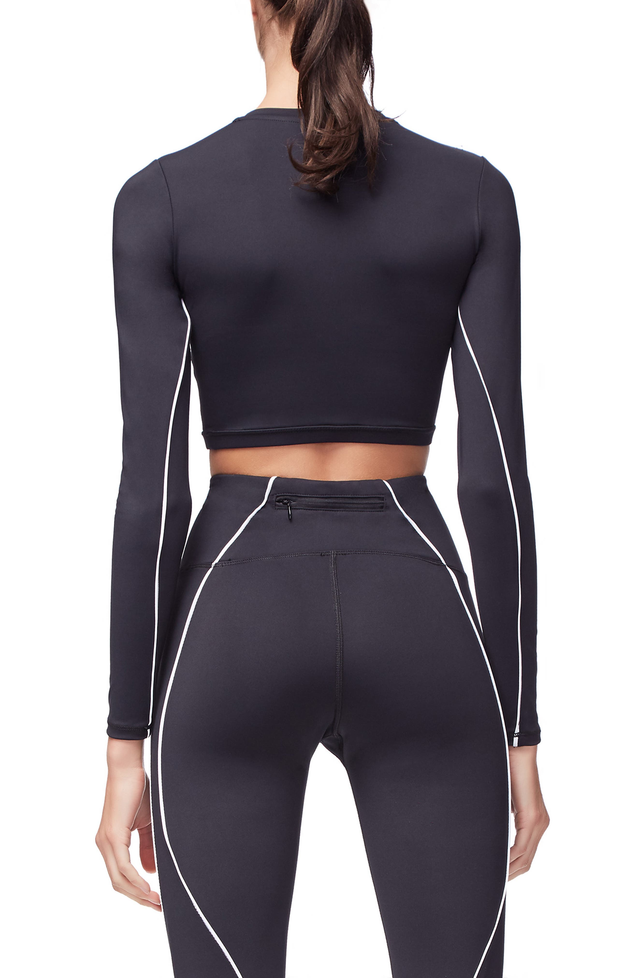 Piped Crop Top,                             Alternate thumbnail 3, color,                             BLACK001