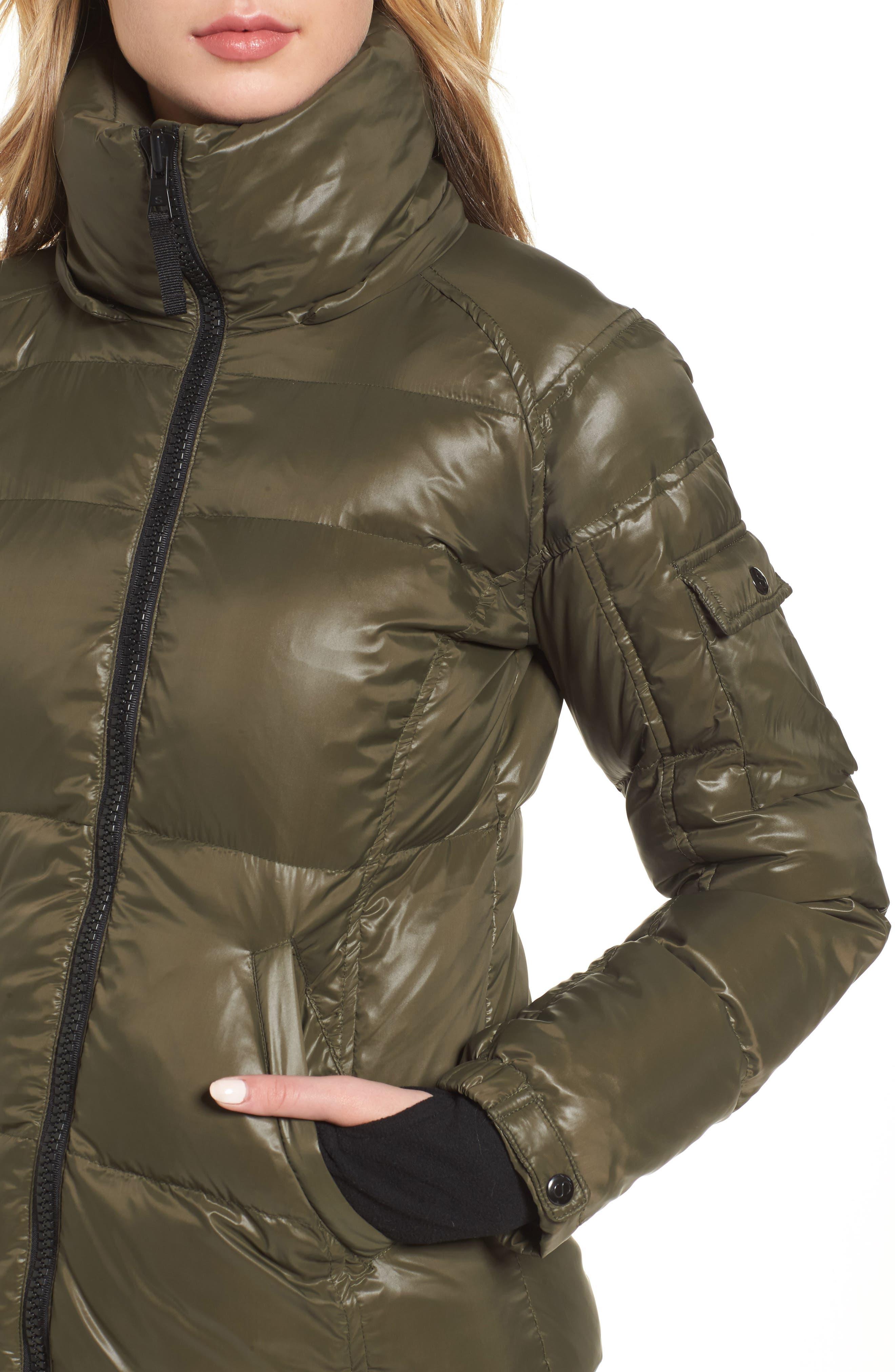 Kylie Faux Fur Trim Gloss Puffer Jacket,                             Alternate thumbnail 13, color,