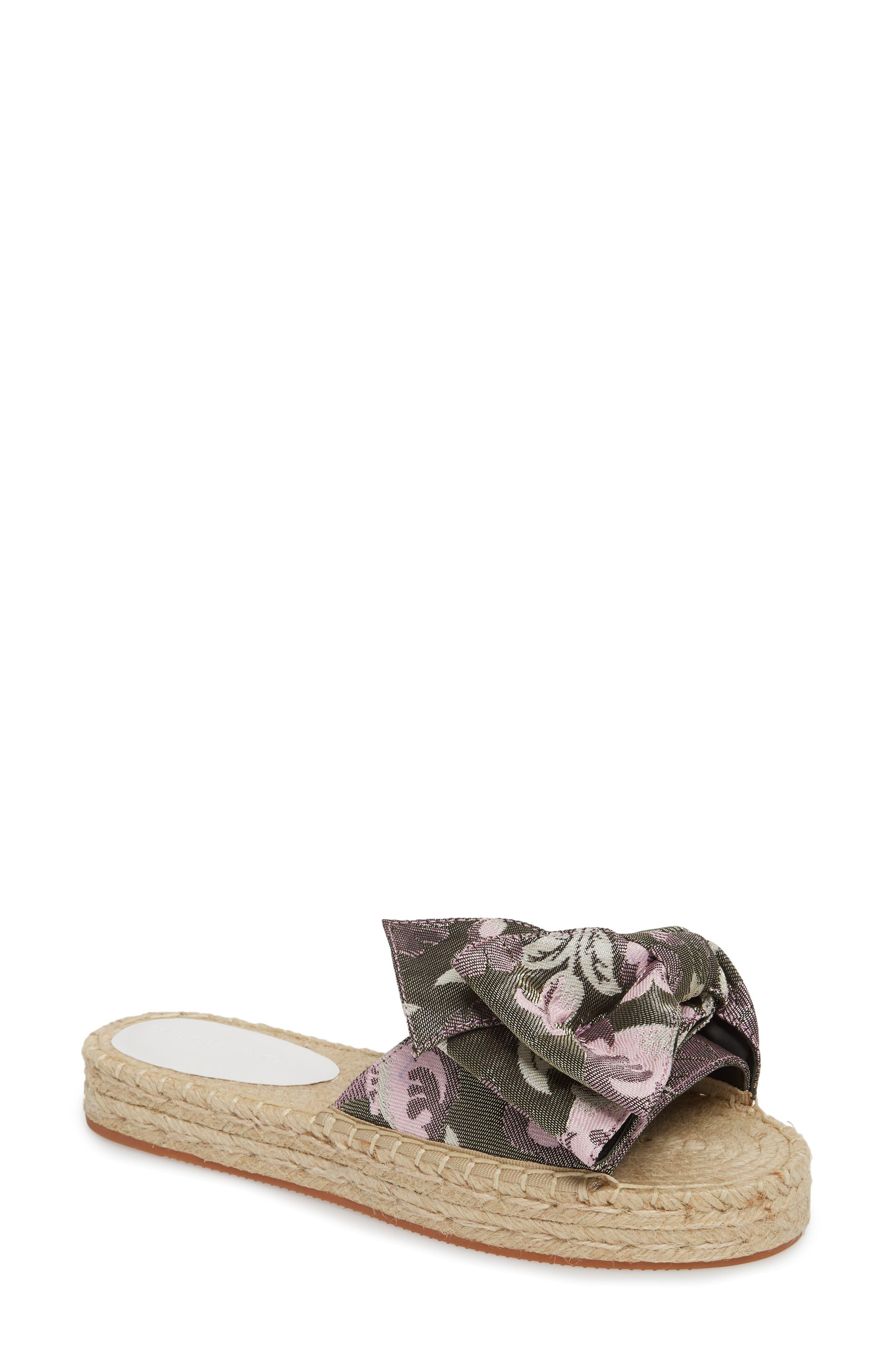 Giana Bow Slide Sandal,                             Main thumbnail 1, color,                             GREEN MULTI JACQUARD