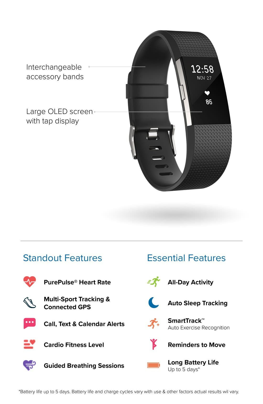 'Charge 2' Wireless Activity & Heart Rate Tracker,                             Alternate thumbnail 6, color,                             BLACK