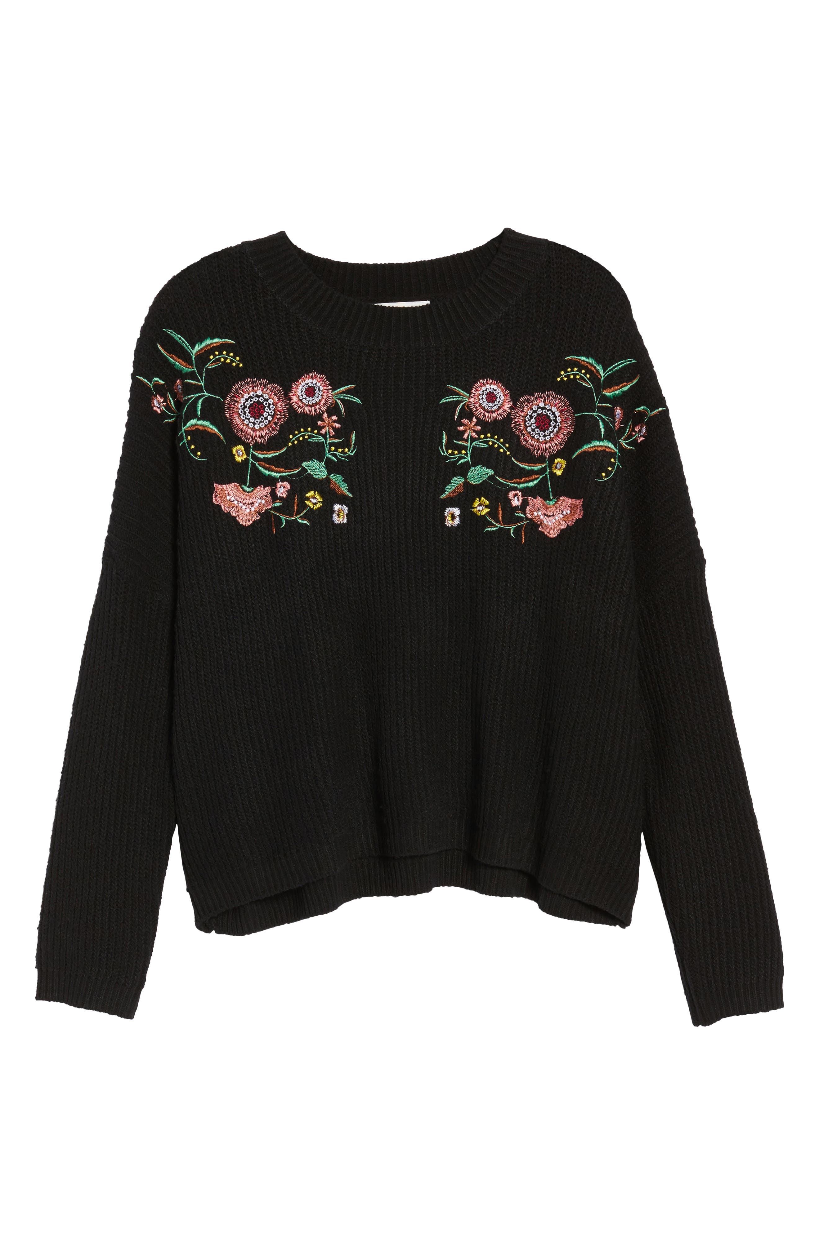 Embroidered Floral Sweater,                             Alternate thumbnail 6, color,                             001