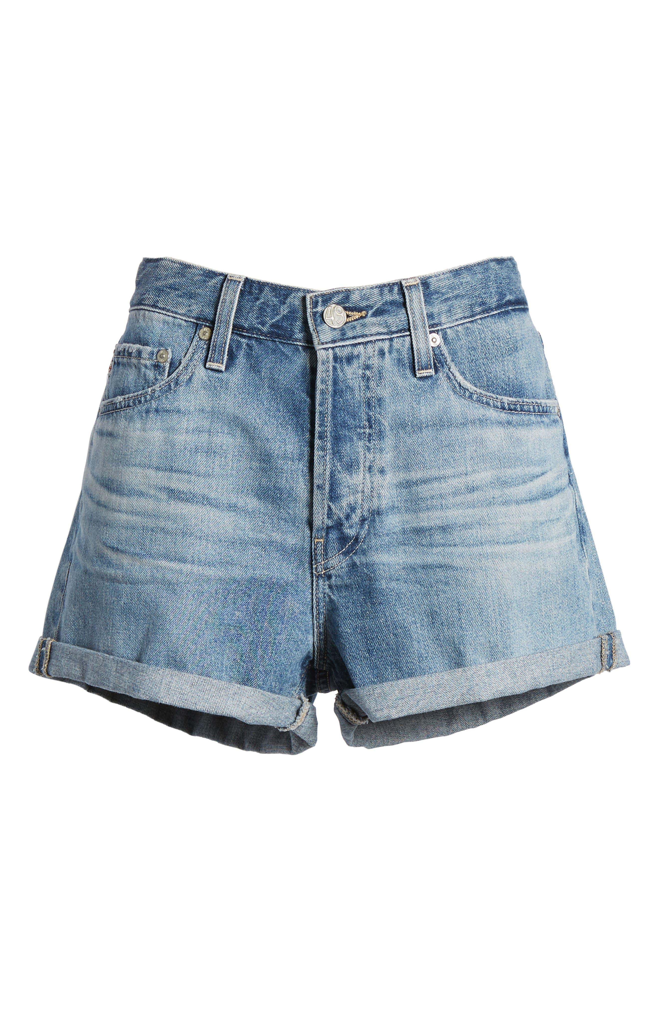 Alex Cuff Denim Boyfriend Shorts,                             Alternate thumbnail 7, color,                             493