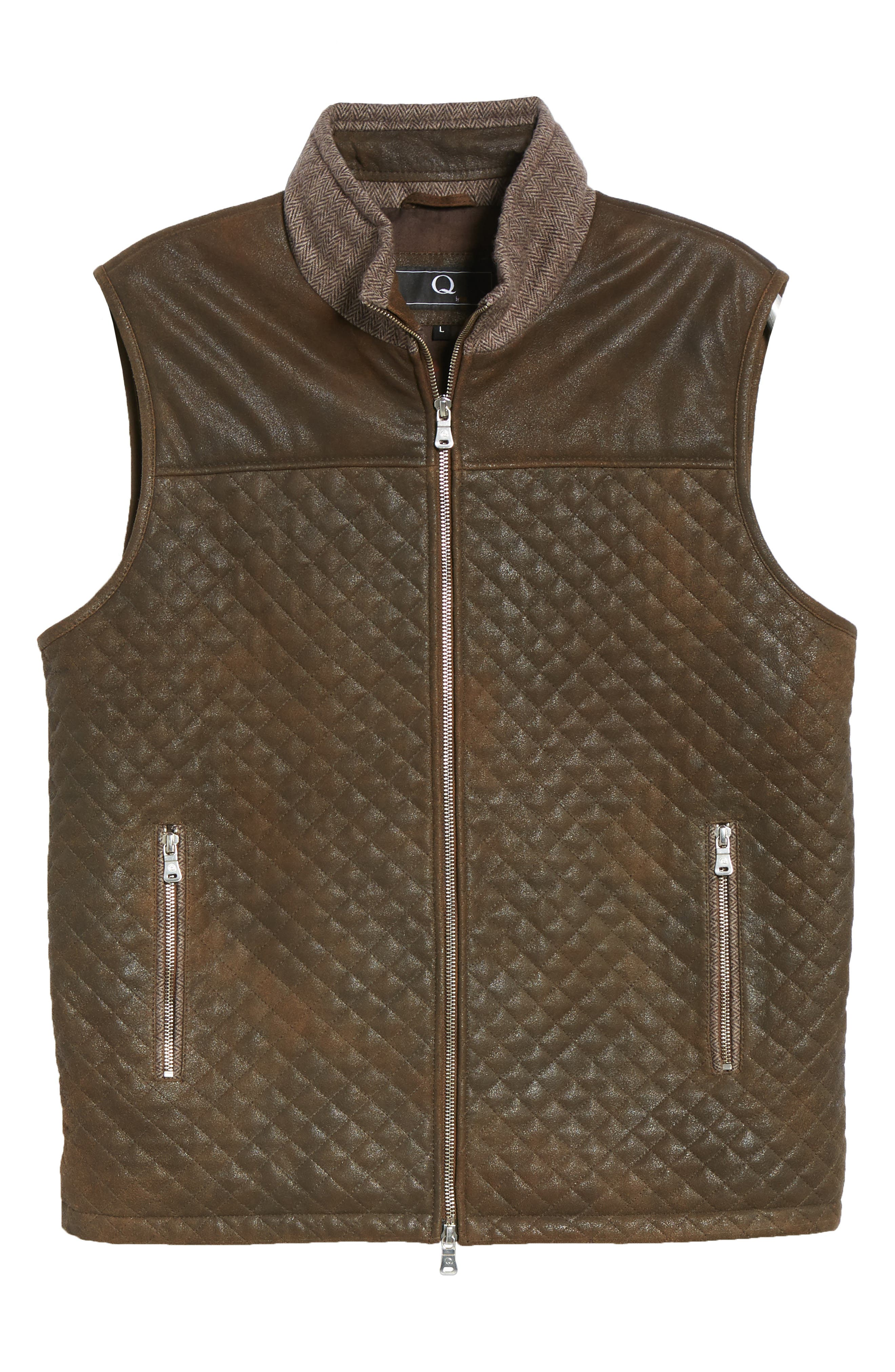Quilted Leather & Wool Vest,                             Alternate thumbnail 6, color,                             201