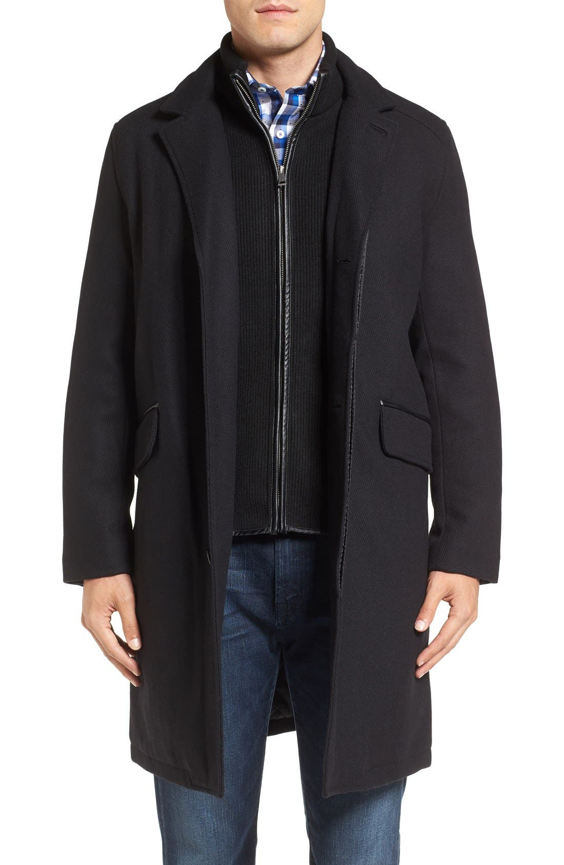 Wool Blend Overcoat with Knit Bib Inset,                         Main,                         color, BLACK