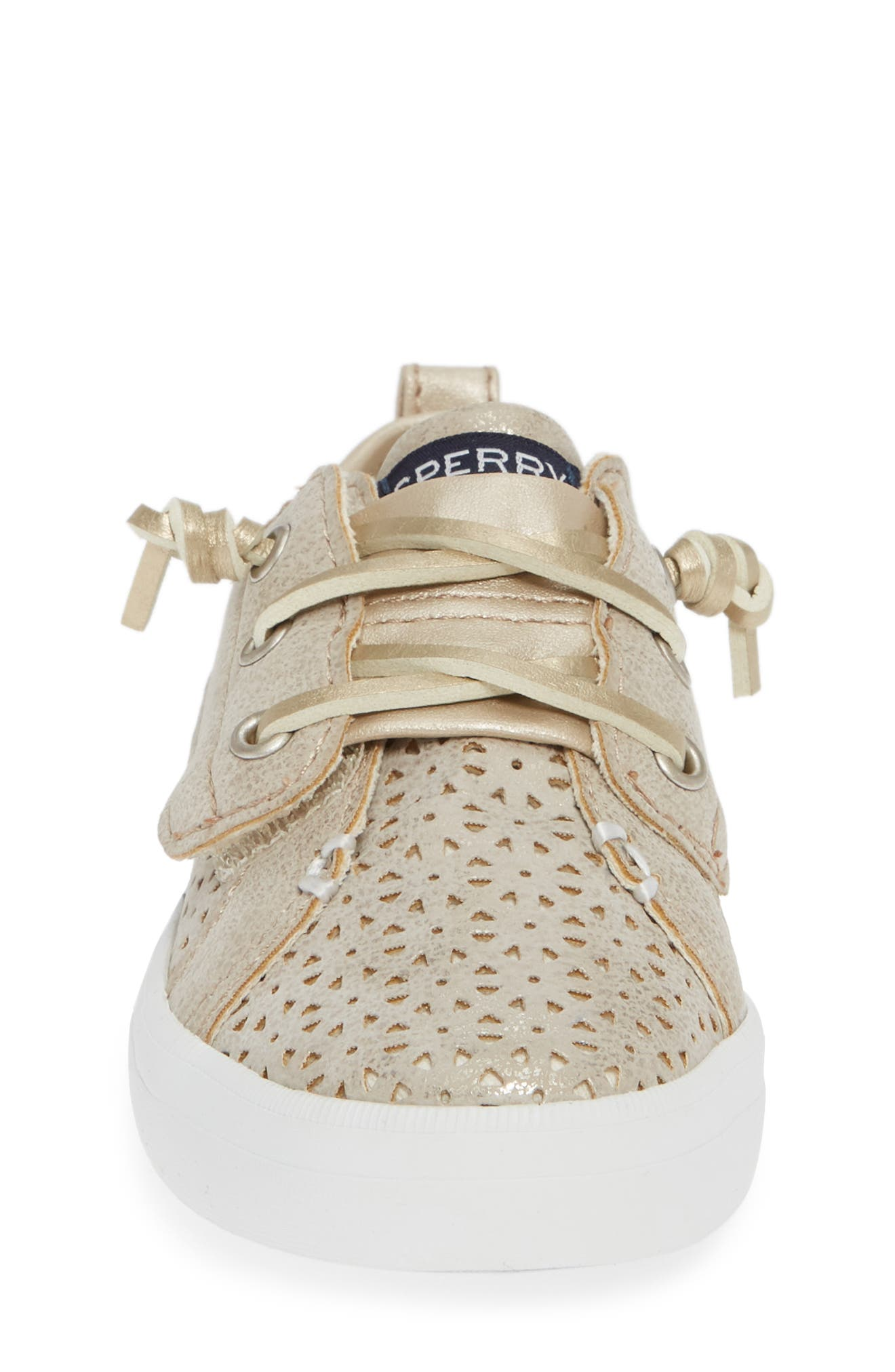 Sperry Crest Vibe Sneaker,                             Alternate thumbnail 4, color,                             CHAMPAGNE SYNTHETIC