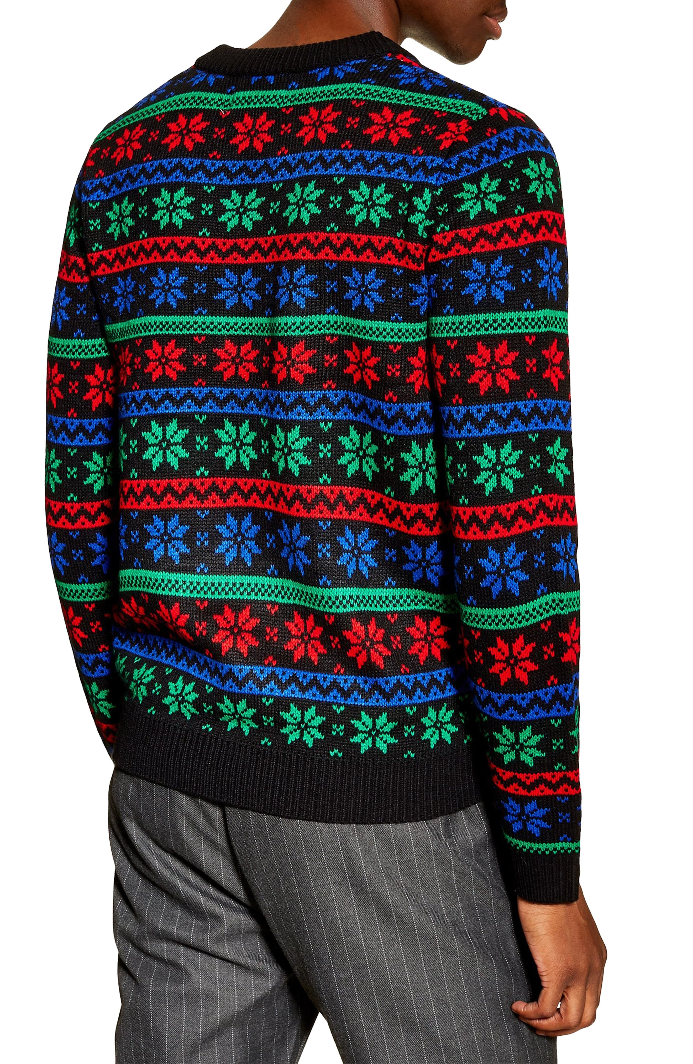 Snowflake Sweater,                             Alternate thumbnail 2, color,                             BLACK MULTI