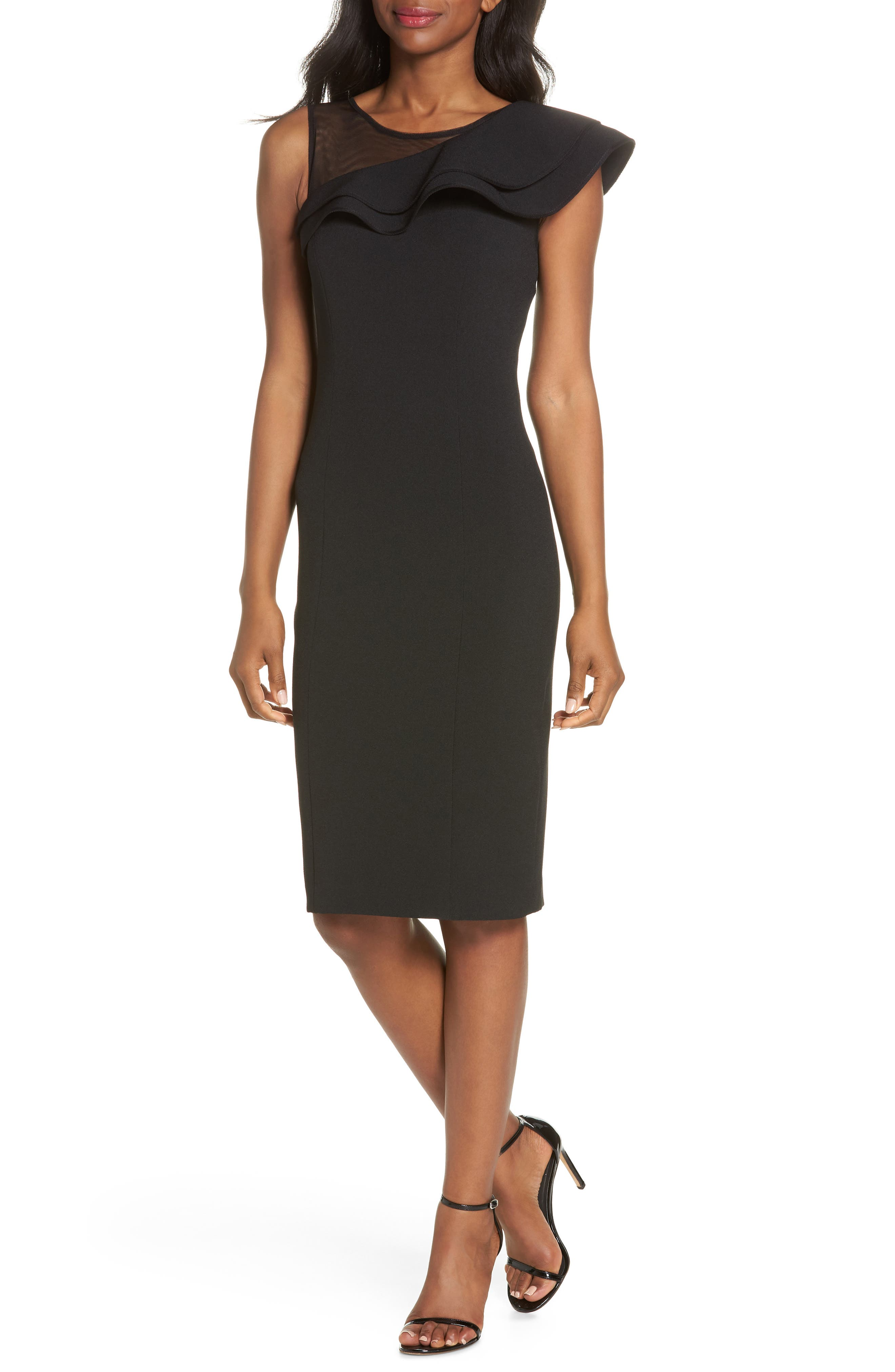 Eliza J Asymmetrical Ruffle Neck Crepe Cocktail Dress, Black