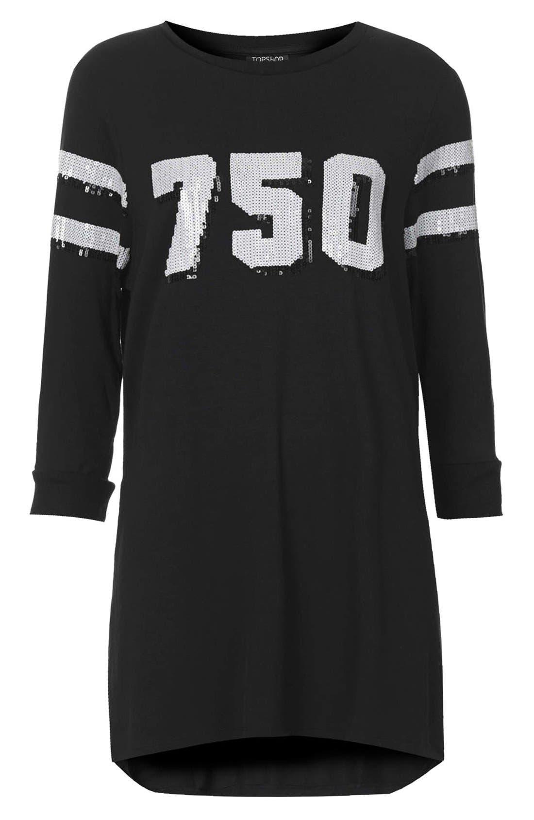 TOPSHOP,                             '750' Sequin Tunic,                             Alternate thumbnail 2, color,                             001