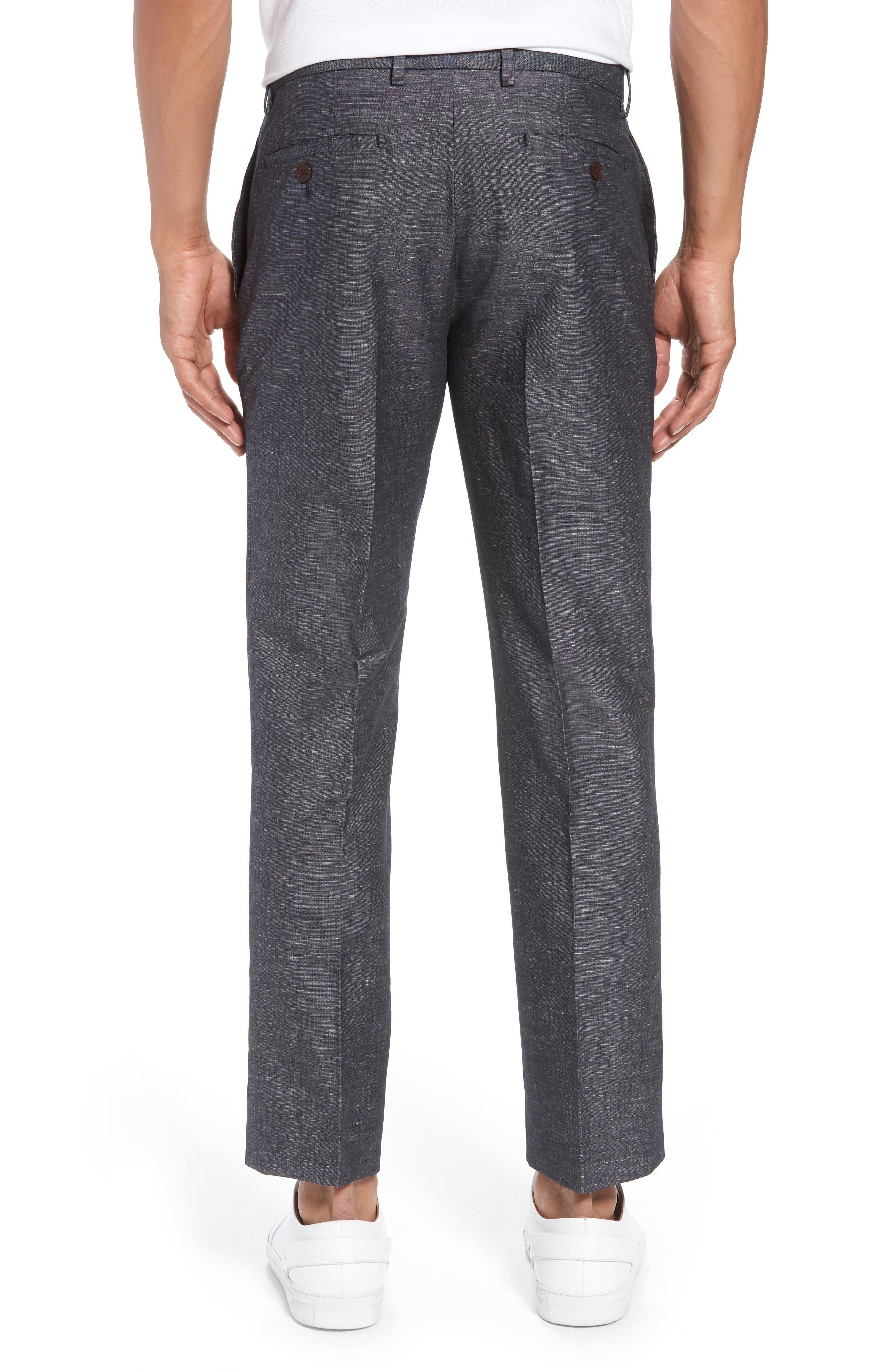 Flat Front Solid Stretch Cotton & Linen Pants,                             Alternate thumbnail 3, color,