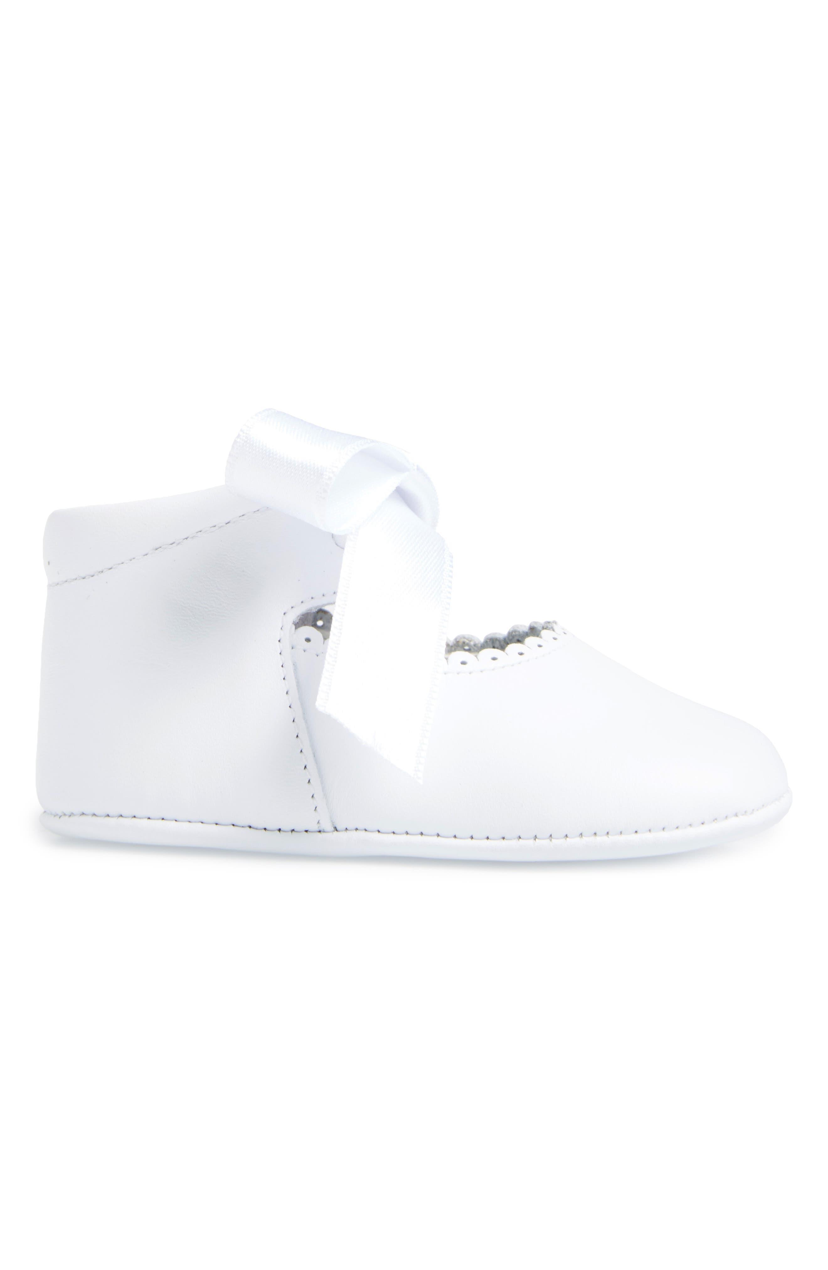 Satin Bow Crib Shoe,                             Alternate thumbnail 3, color,                             WHITE