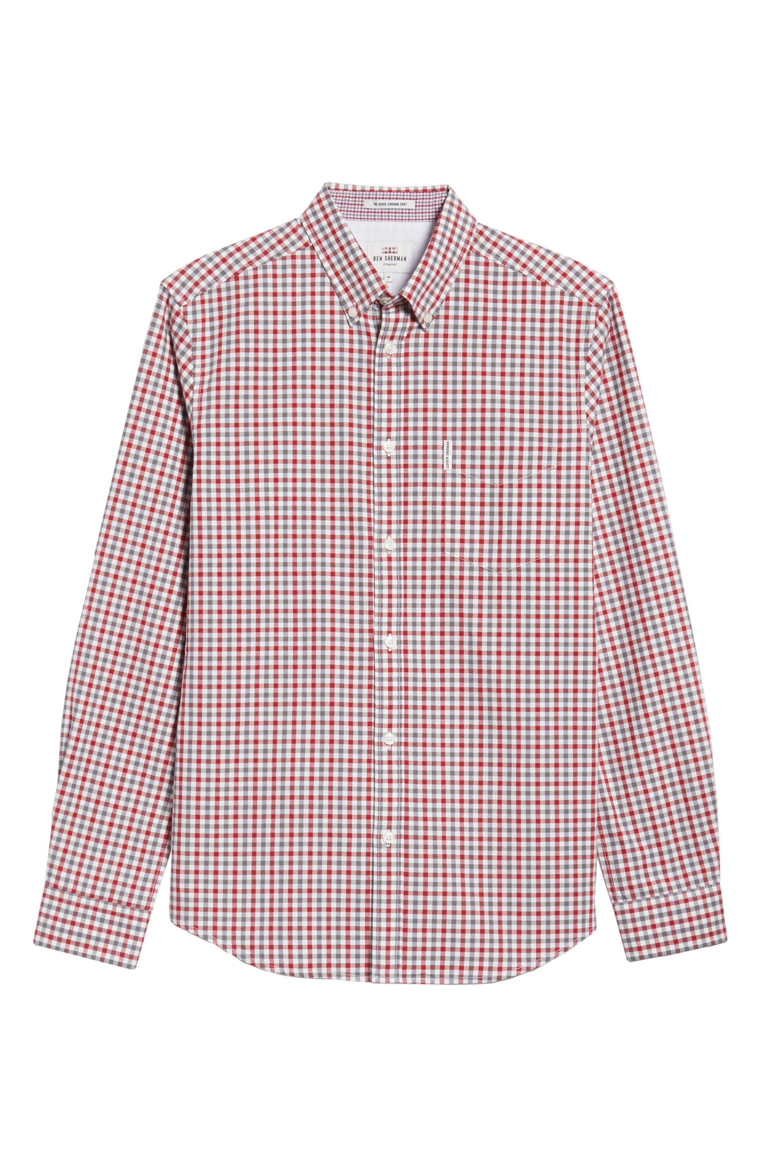 Mod Fit Gingham Woven Shirt,                             Alternate thumbnail 6, color,                             OFF WHITE