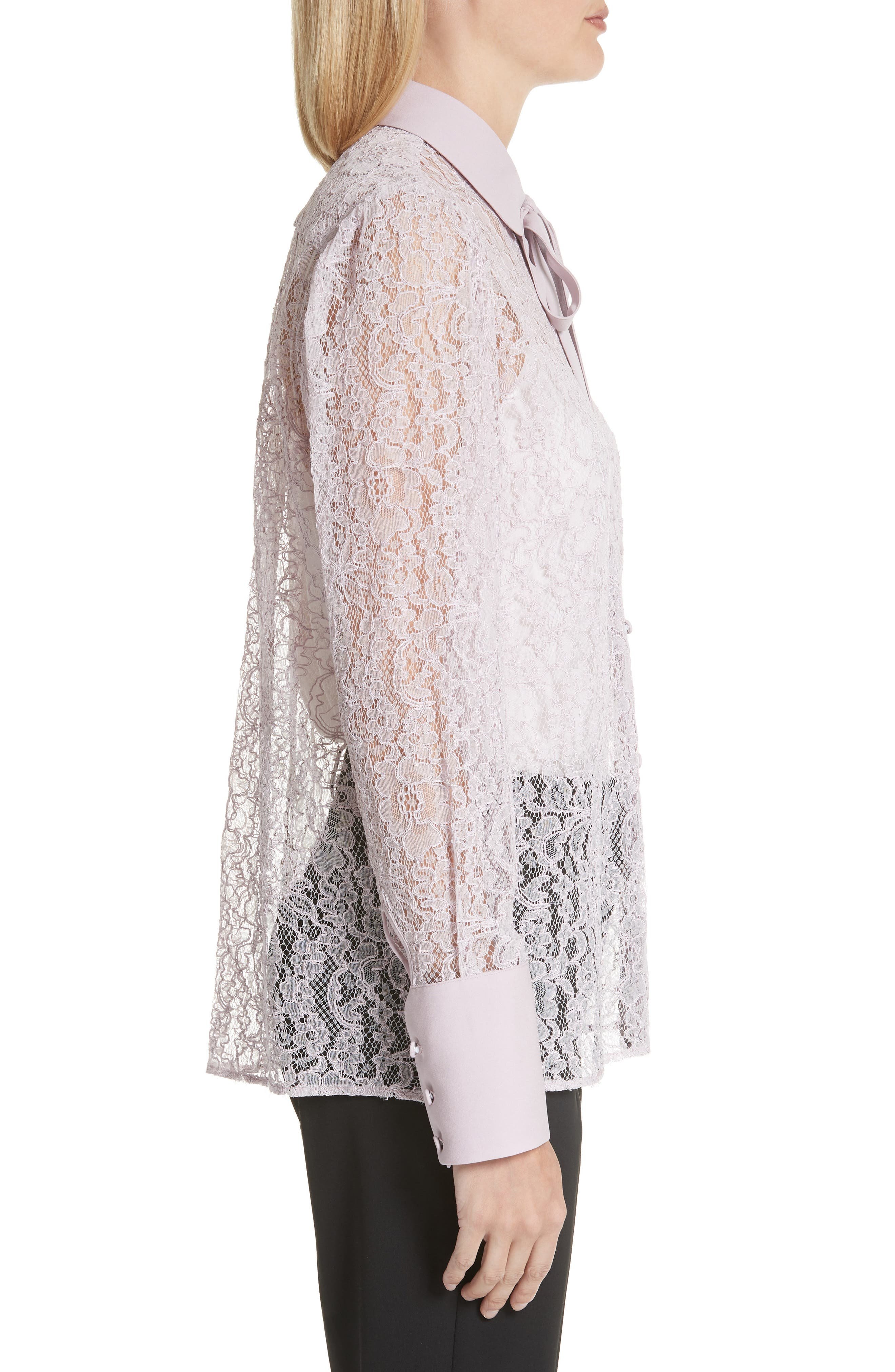 VALENTINO,                             Tie Neck Chantilly Lace Shirt,                             Alternate thumbnail 3, color,                             650