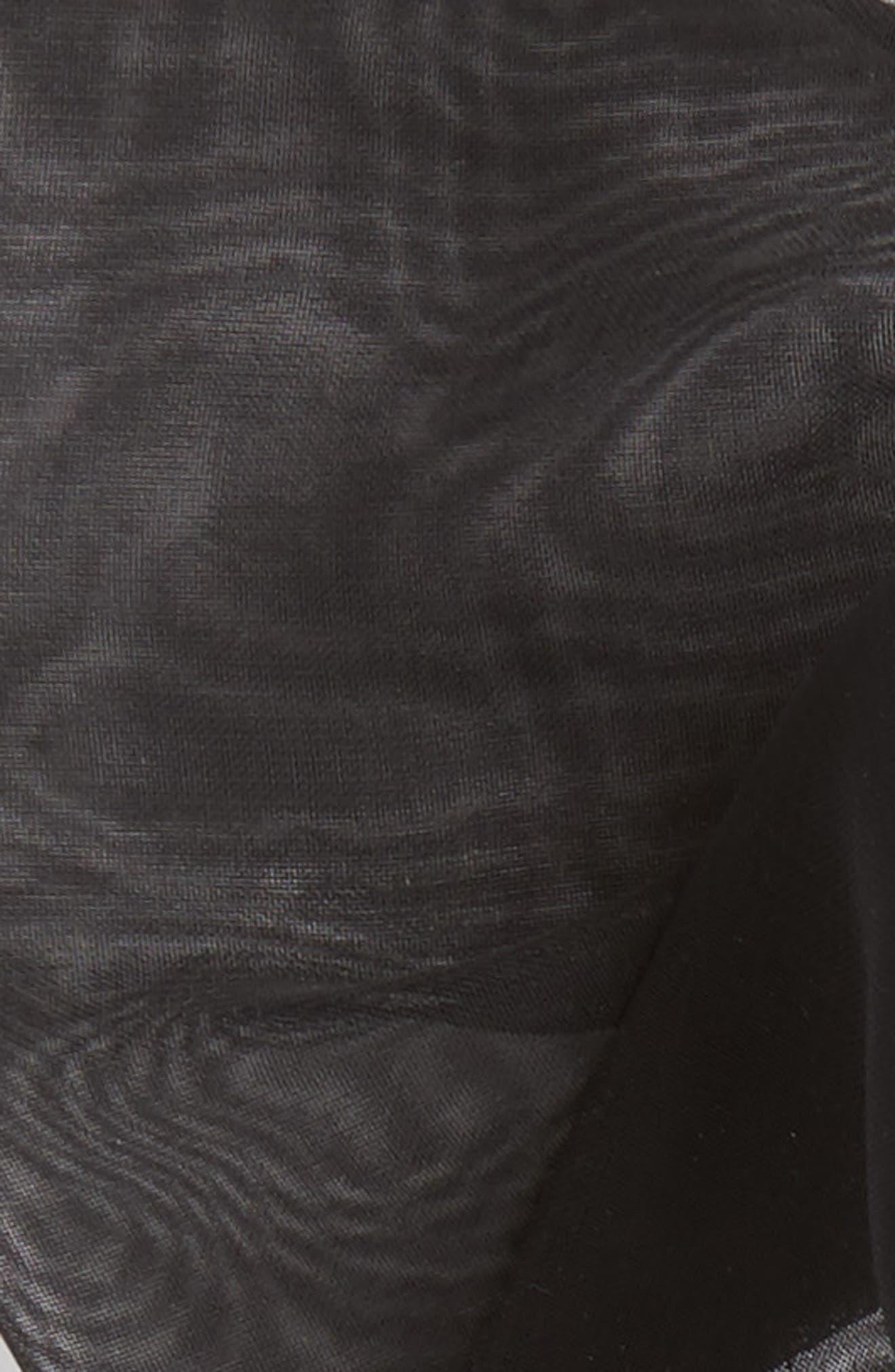Chiffon Bow Ponytail Holder,                             Alternate thumbnail 3, color,                             BLACK