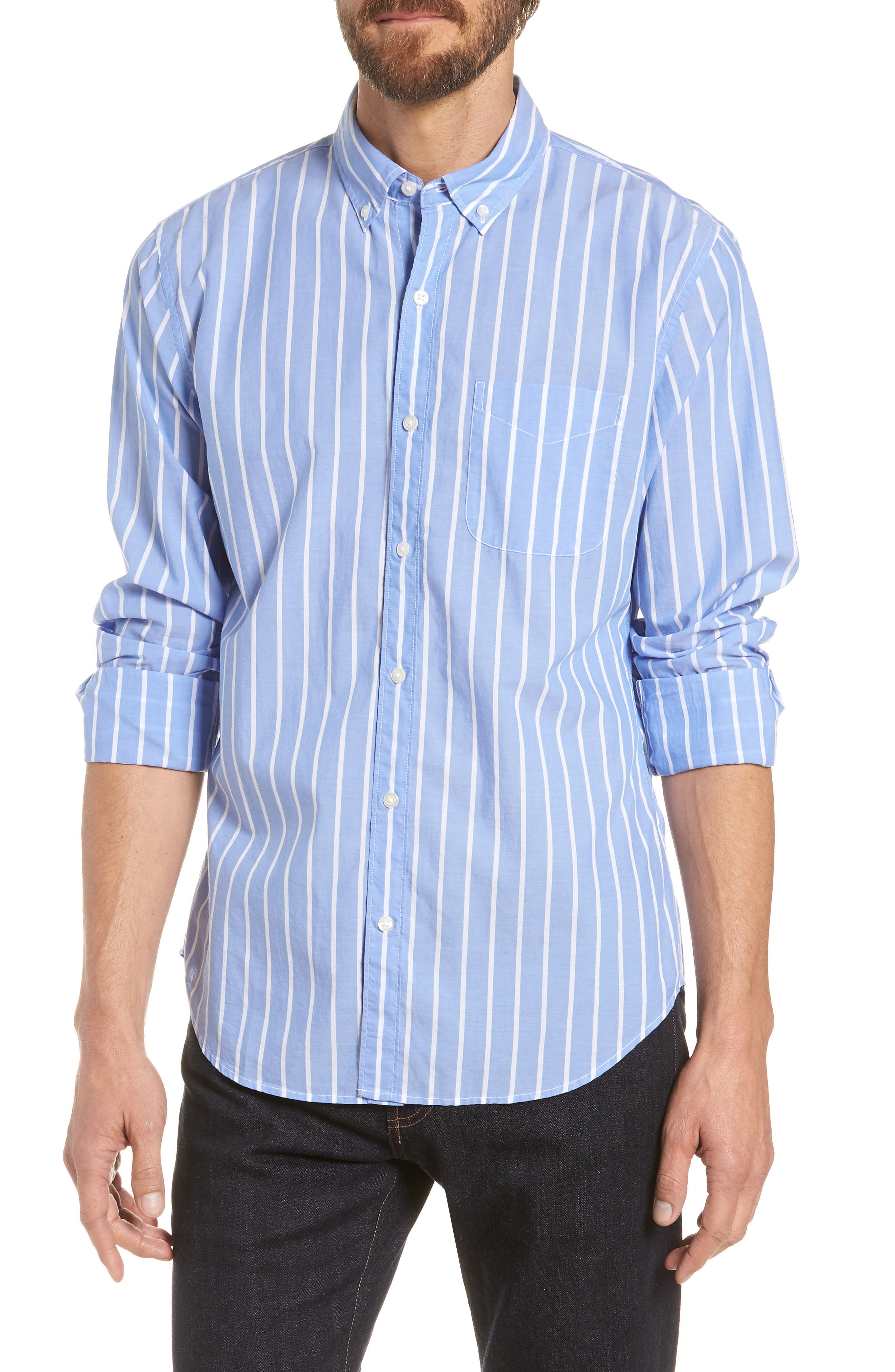 Summerweight Slim Fit Stripe Sport Shirt,                         Main,                         color, 100