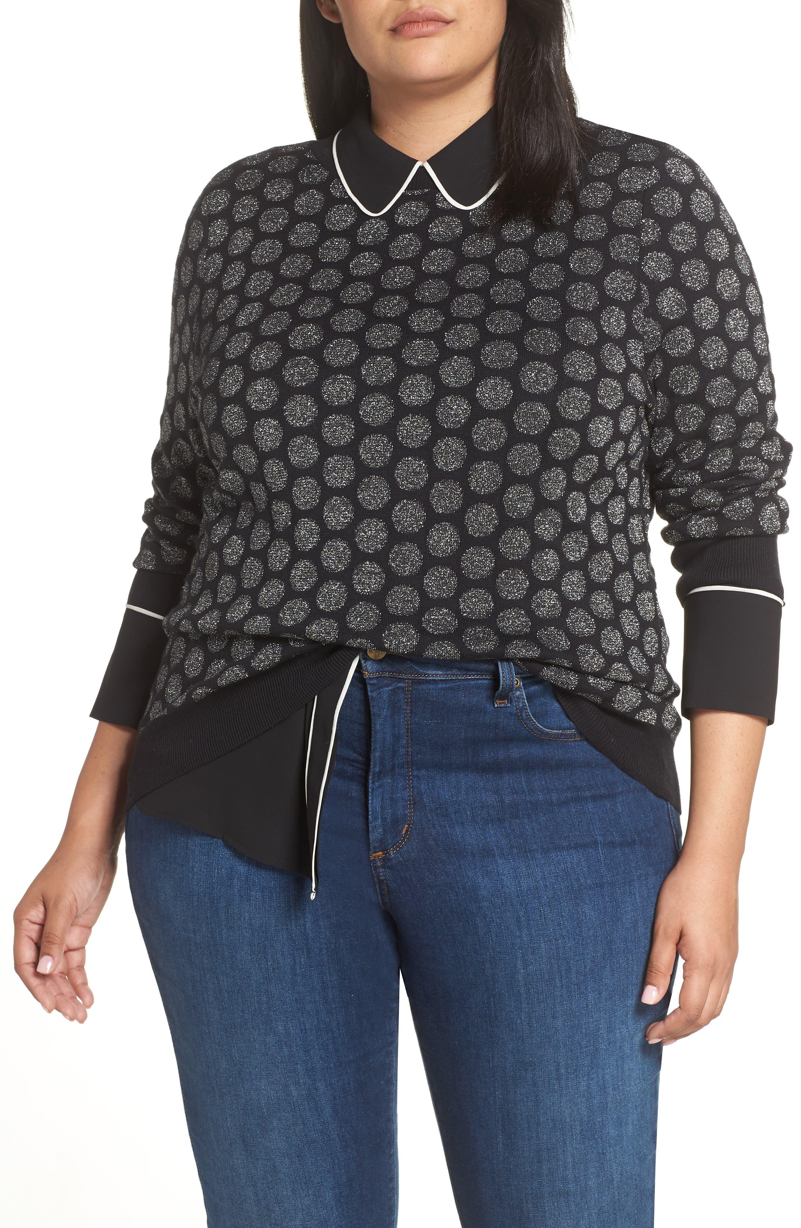 x Atlantic-Pacific Shimmer Dot Sweater,                             Main thumbnail 1, color,                             BLACK