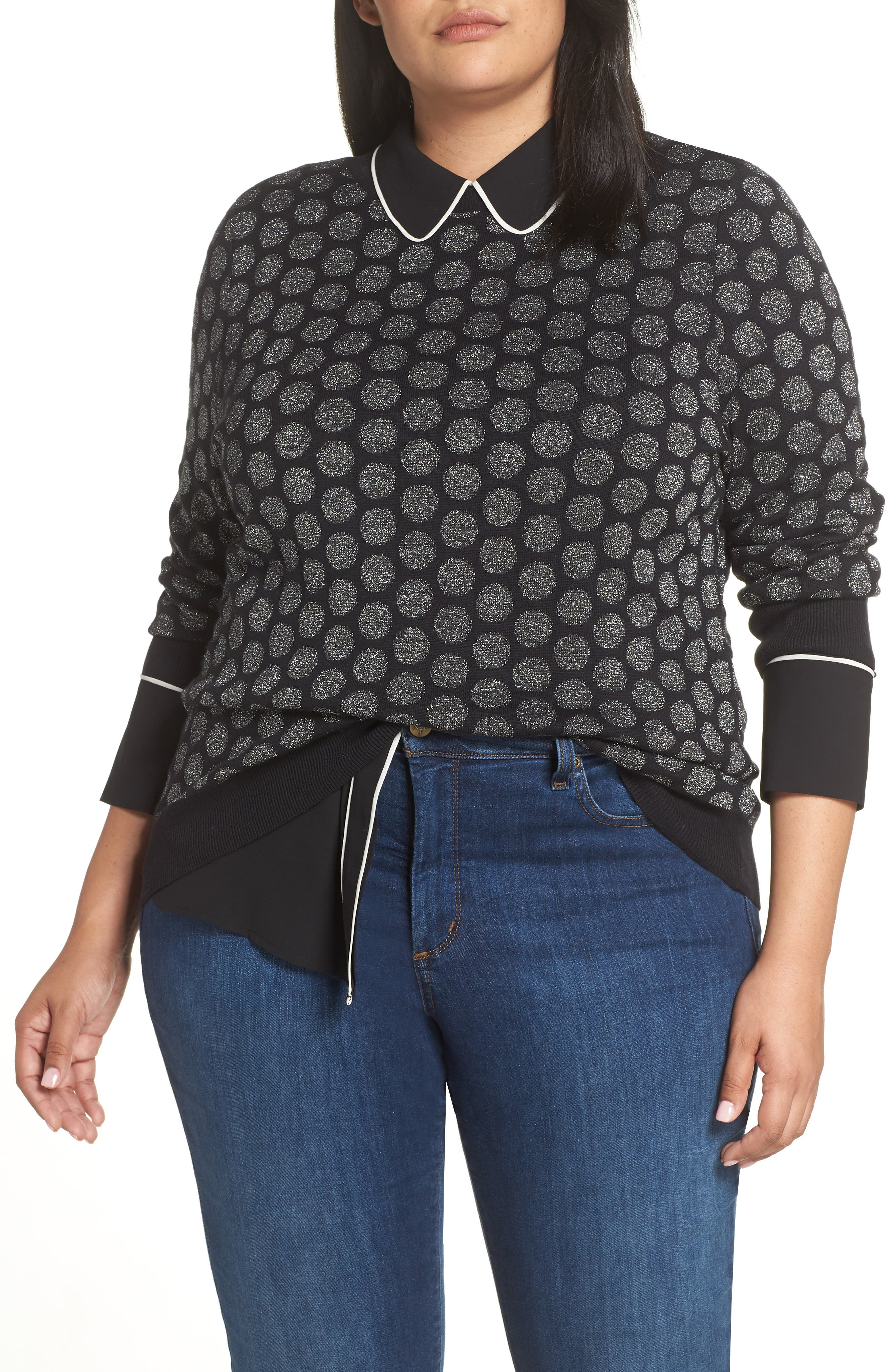 x Atlantic-Pacific Shimmer Dot Sweater,                         Main,                         color, BLACK