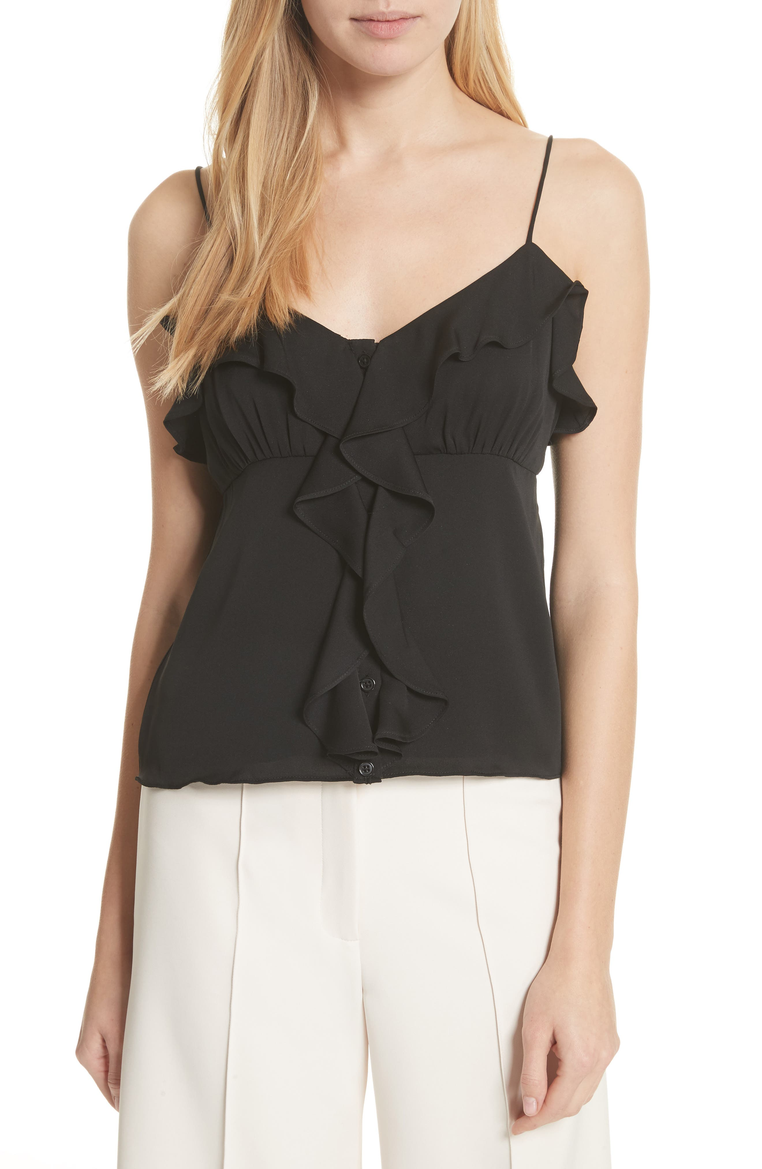 Emilia Ruffle Button Down Camisole,                             Main thumbnail 1, color,                             001
