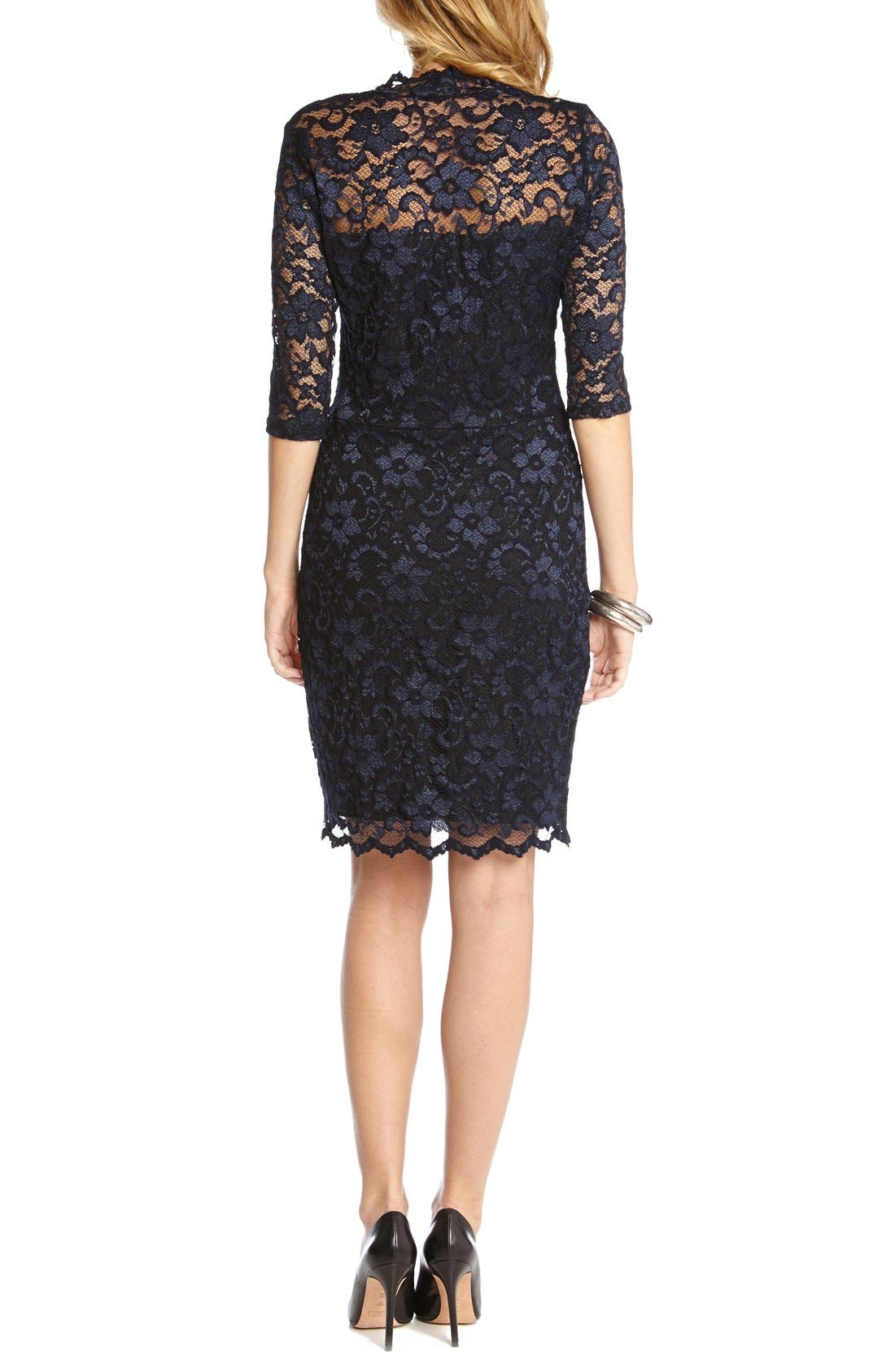 Scalloped Lace Sheath Dress,                             Alternate thumbnail 3, color,                             NAVY