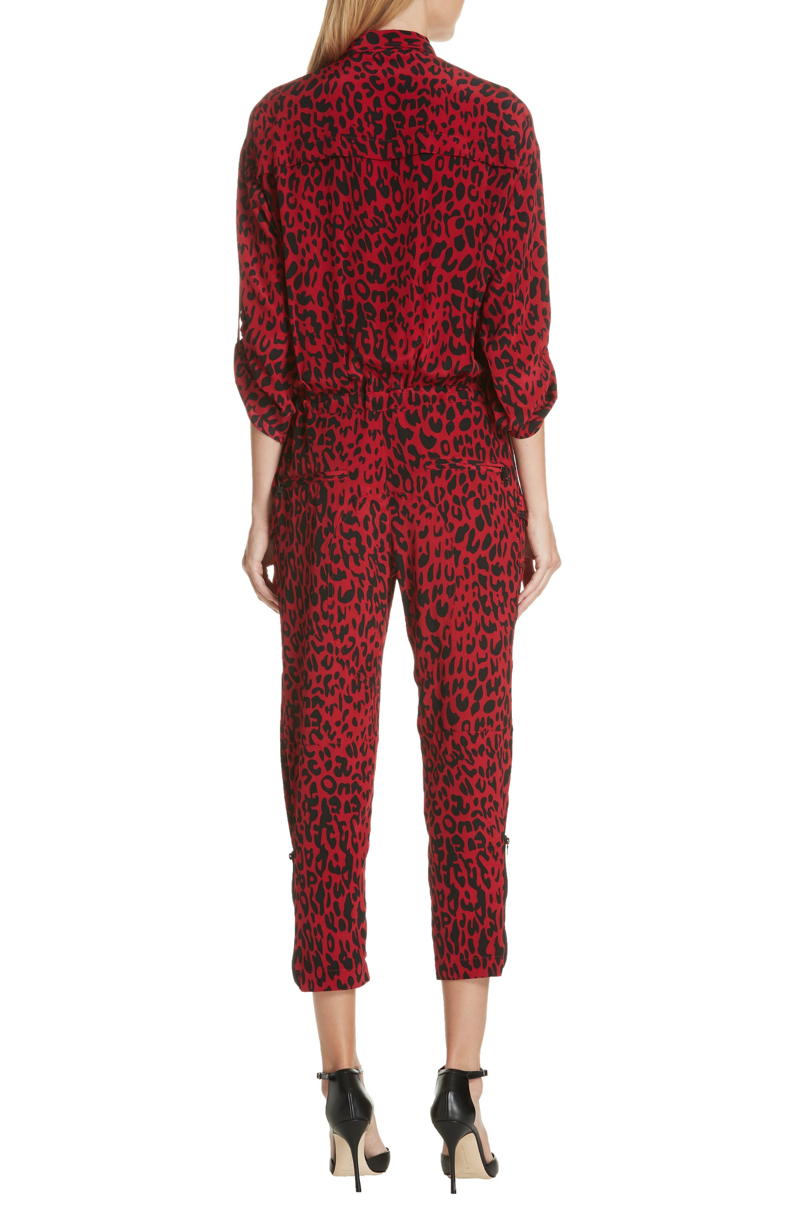 Leopard Print Crop Jumpsuit,                             Alternate thumbnail 2, color,                             600