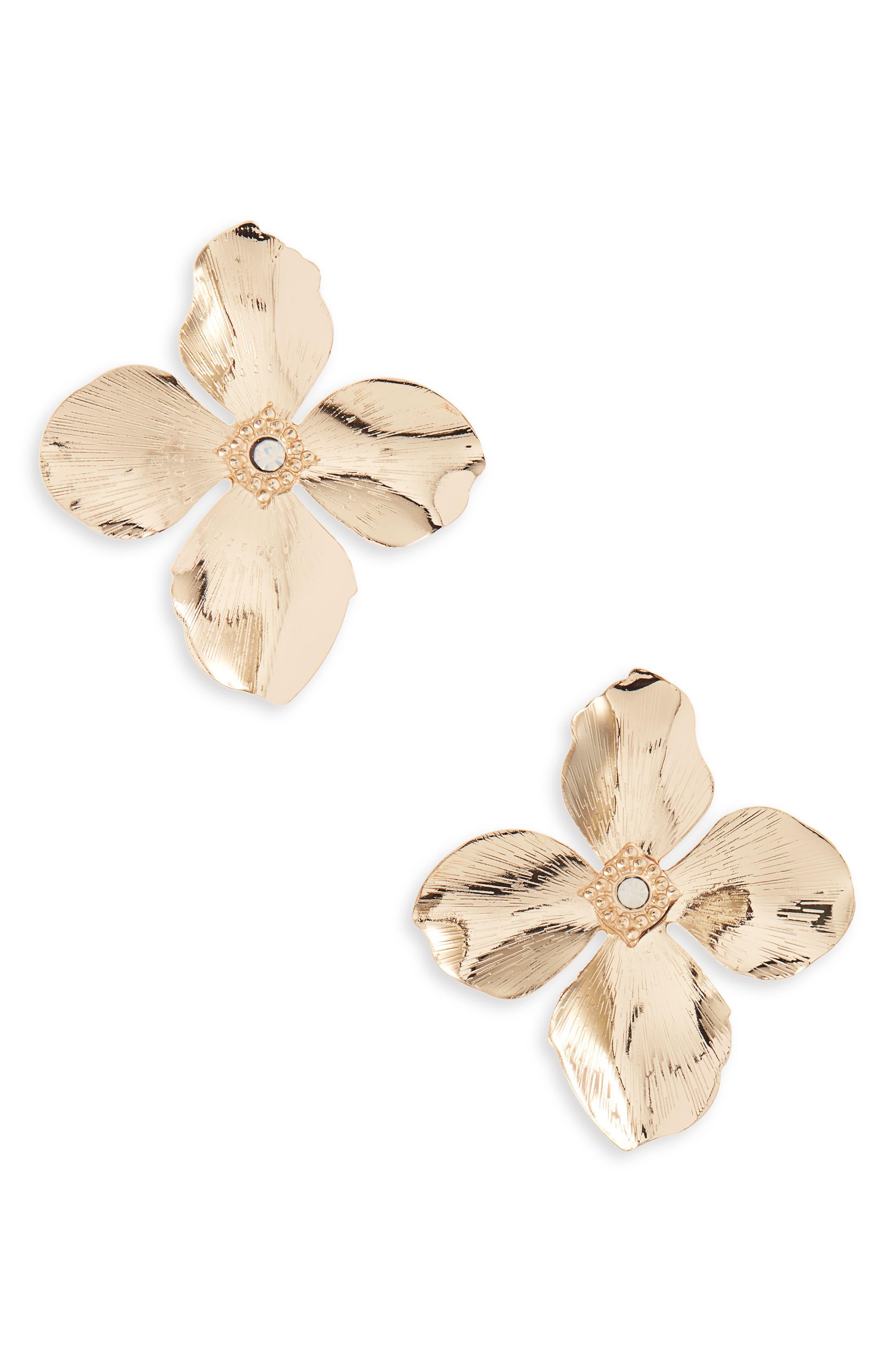 Flower Earrings,                             Main thumbnail 1, color,                             GOLD