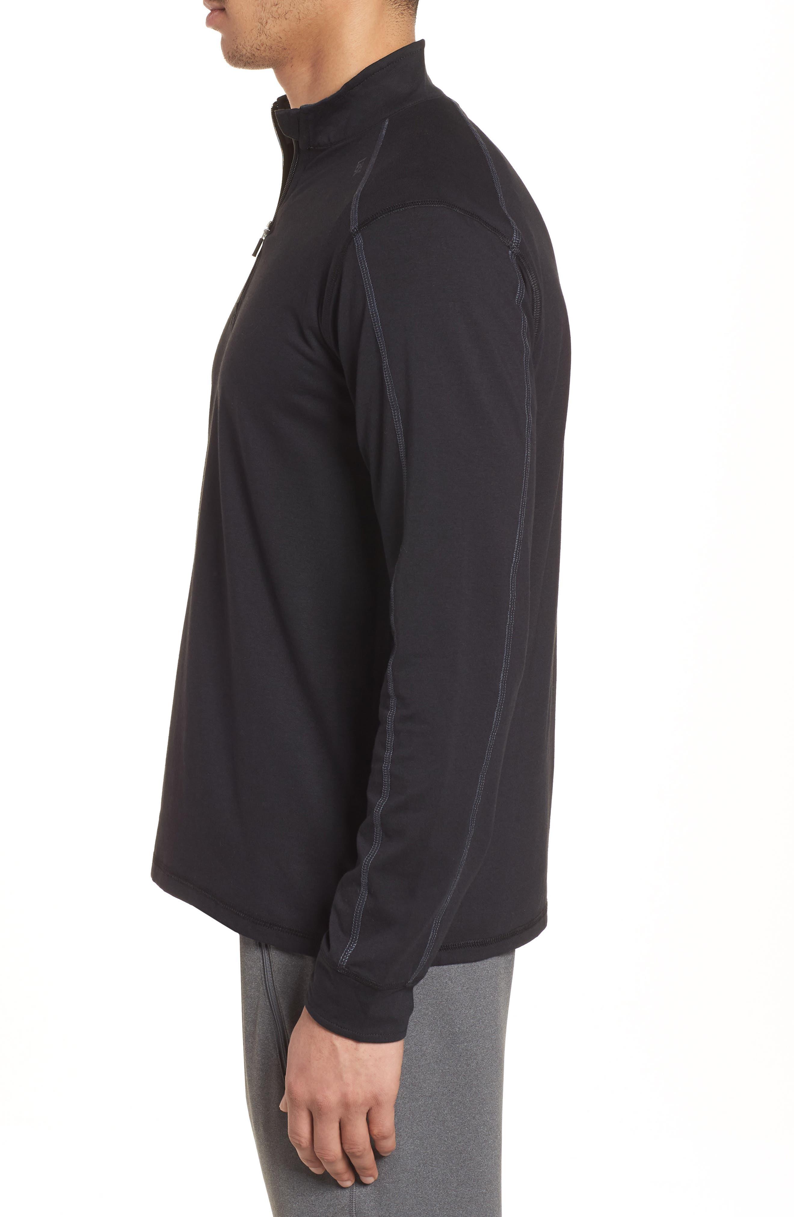 Carrollton Quarter Zip Sweatshirt,                             Alternate thumbnail 3, color,                             BLACK/ GUNMETAL