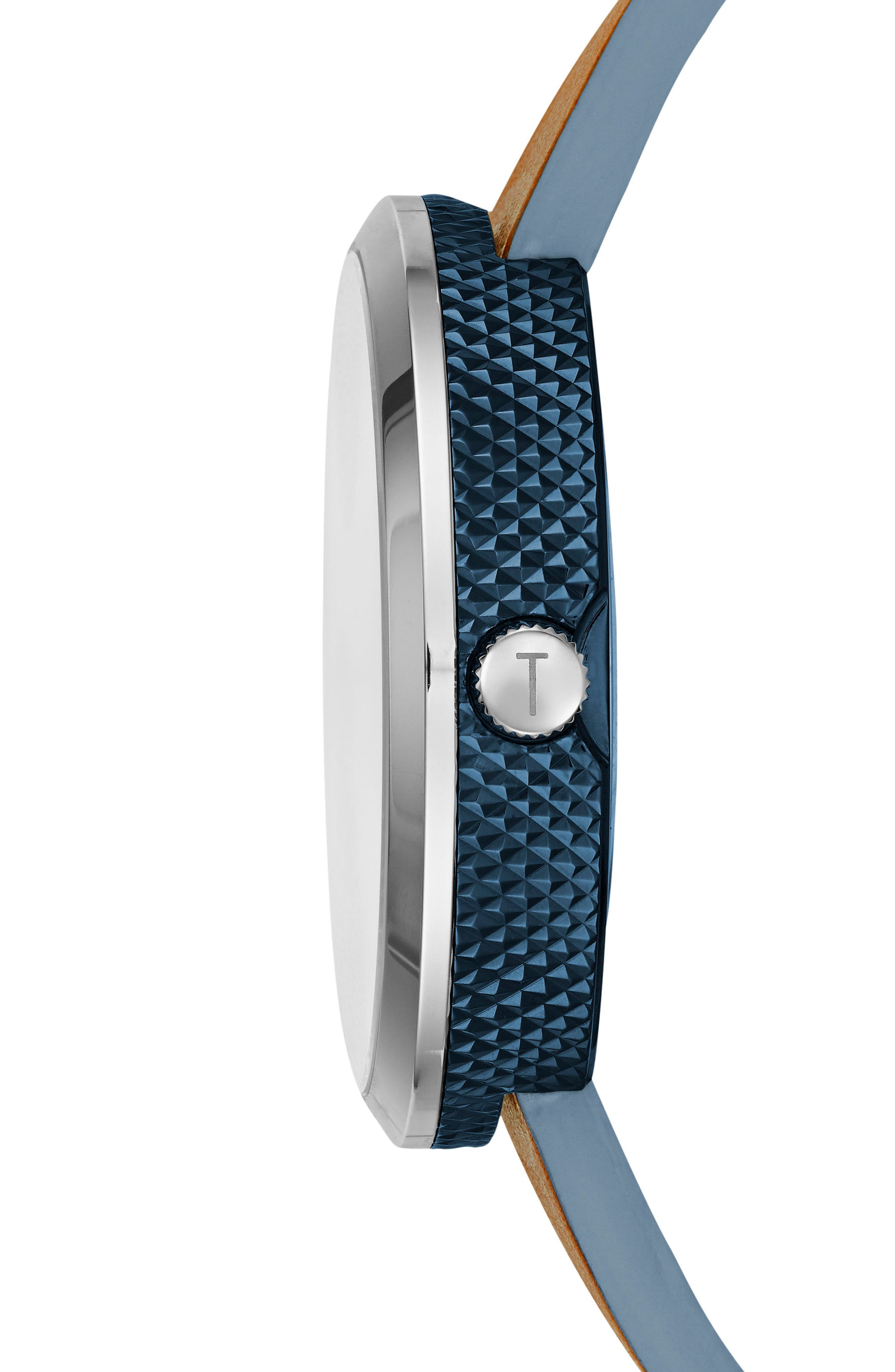 Josh Leather Strap Watch, 42mm,                             Alternate thumbnail 3, color,                             BLUE/ BROWN