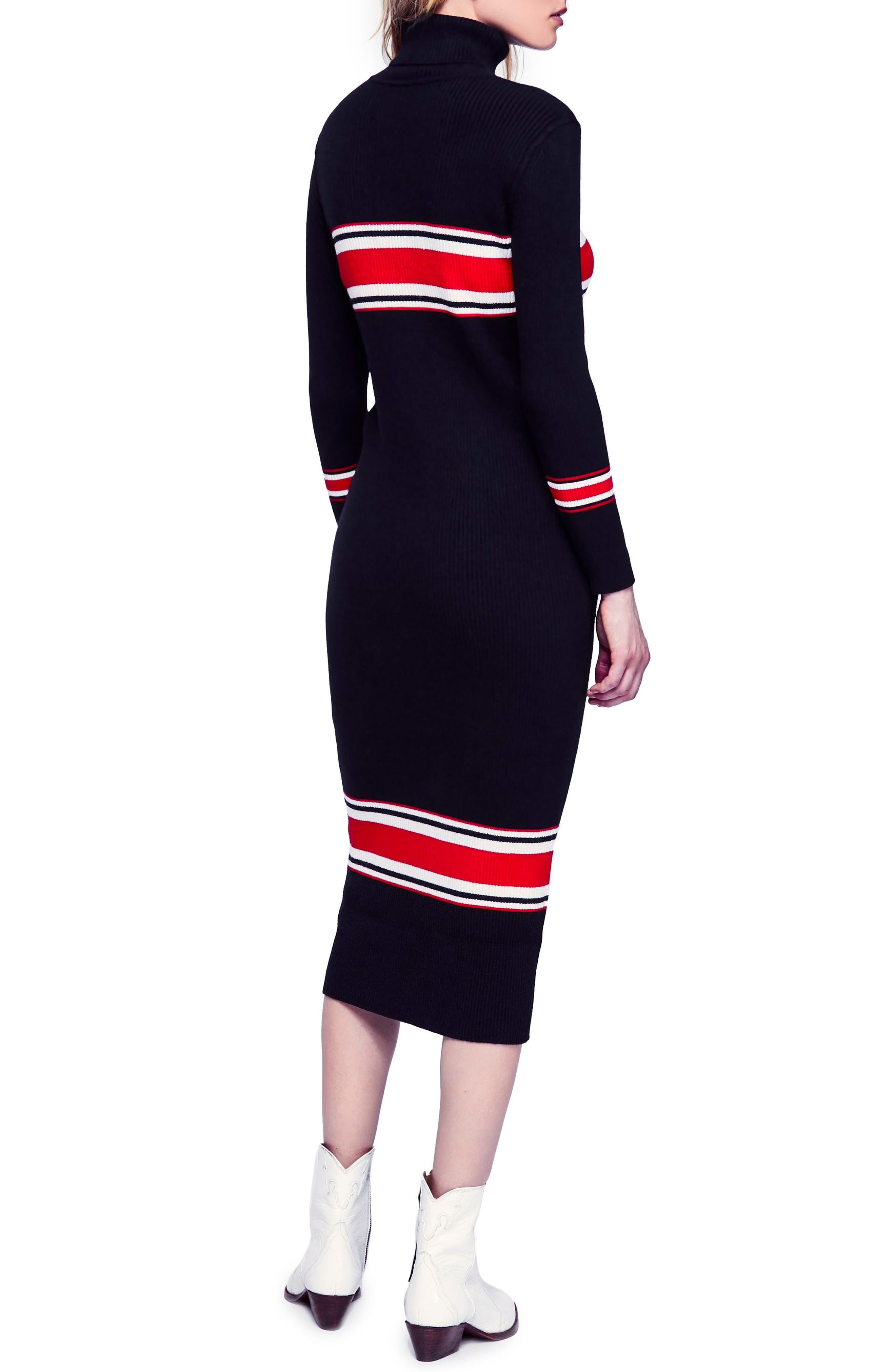 Sport Stripe Midi Sweater Dress,                             Alternate thumbnail 2, color,                             001