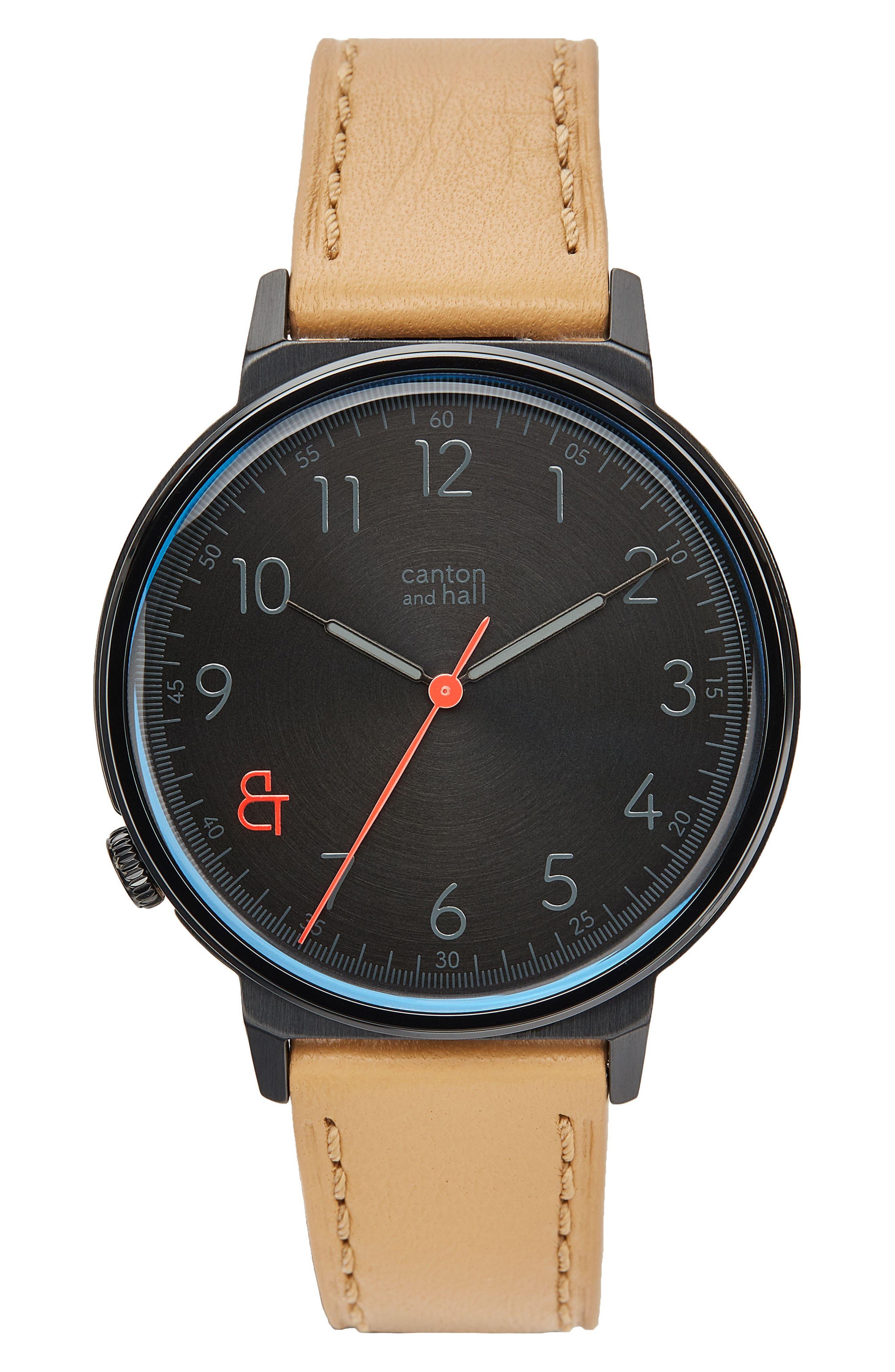 Davis Leather Strap Watch, 44mm,                             Main thumbnail 1, color,                             BLACK/ CAMEL