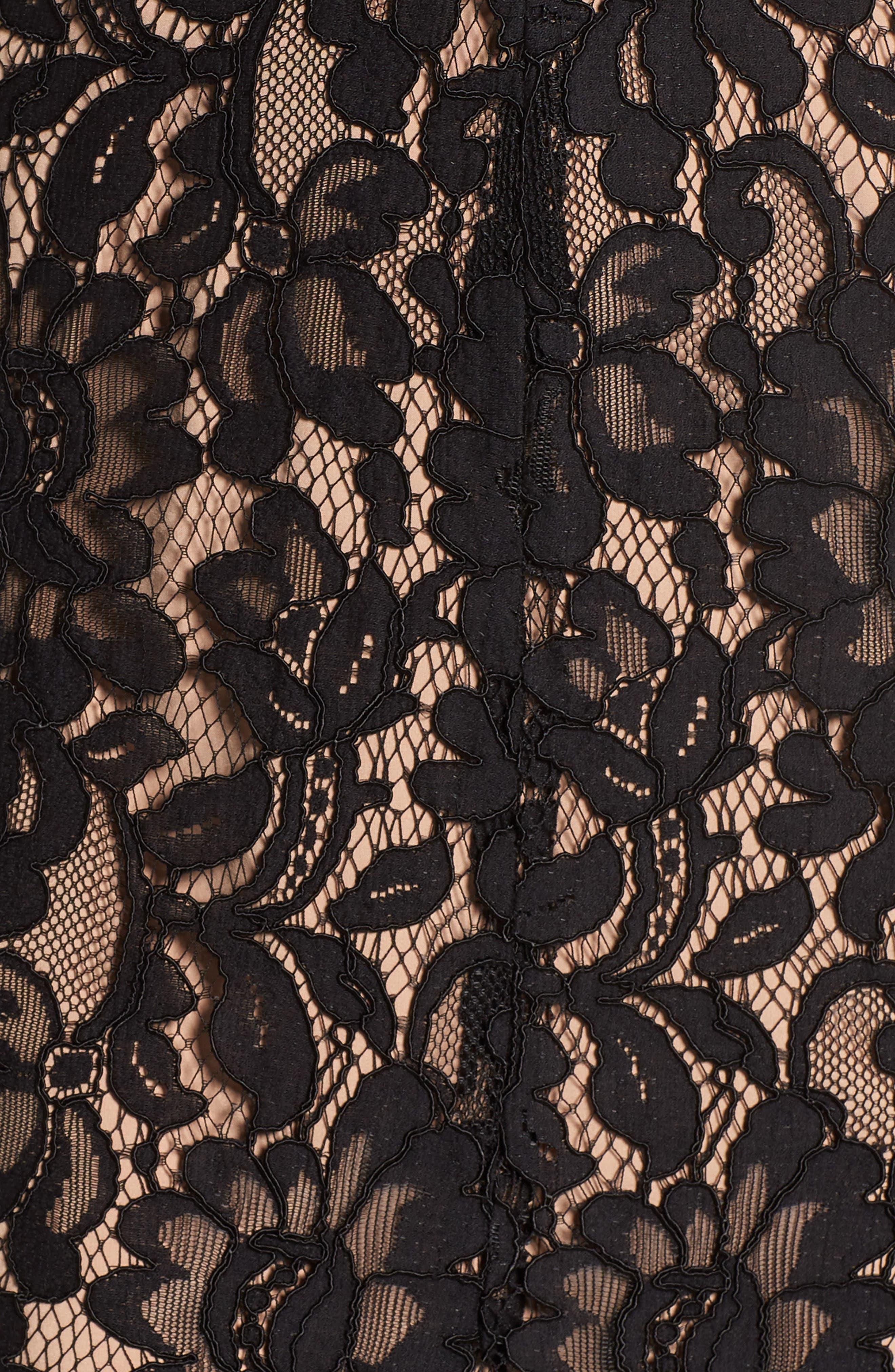 V-Neck Lace Maxi Dress,                             Alternate thumbnail 5, color,                             001